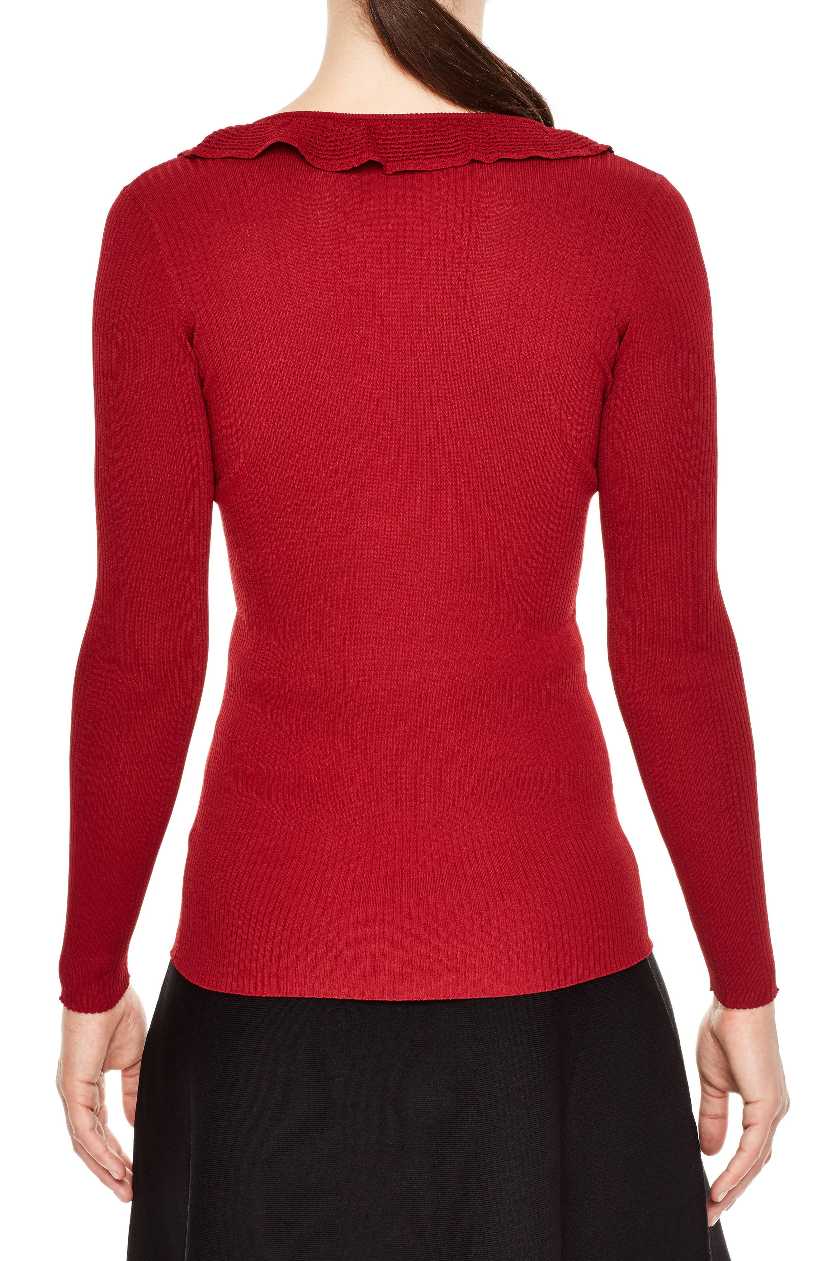 Alternate Image 2  - sandro Ruffle Trim V-Neck Sweater