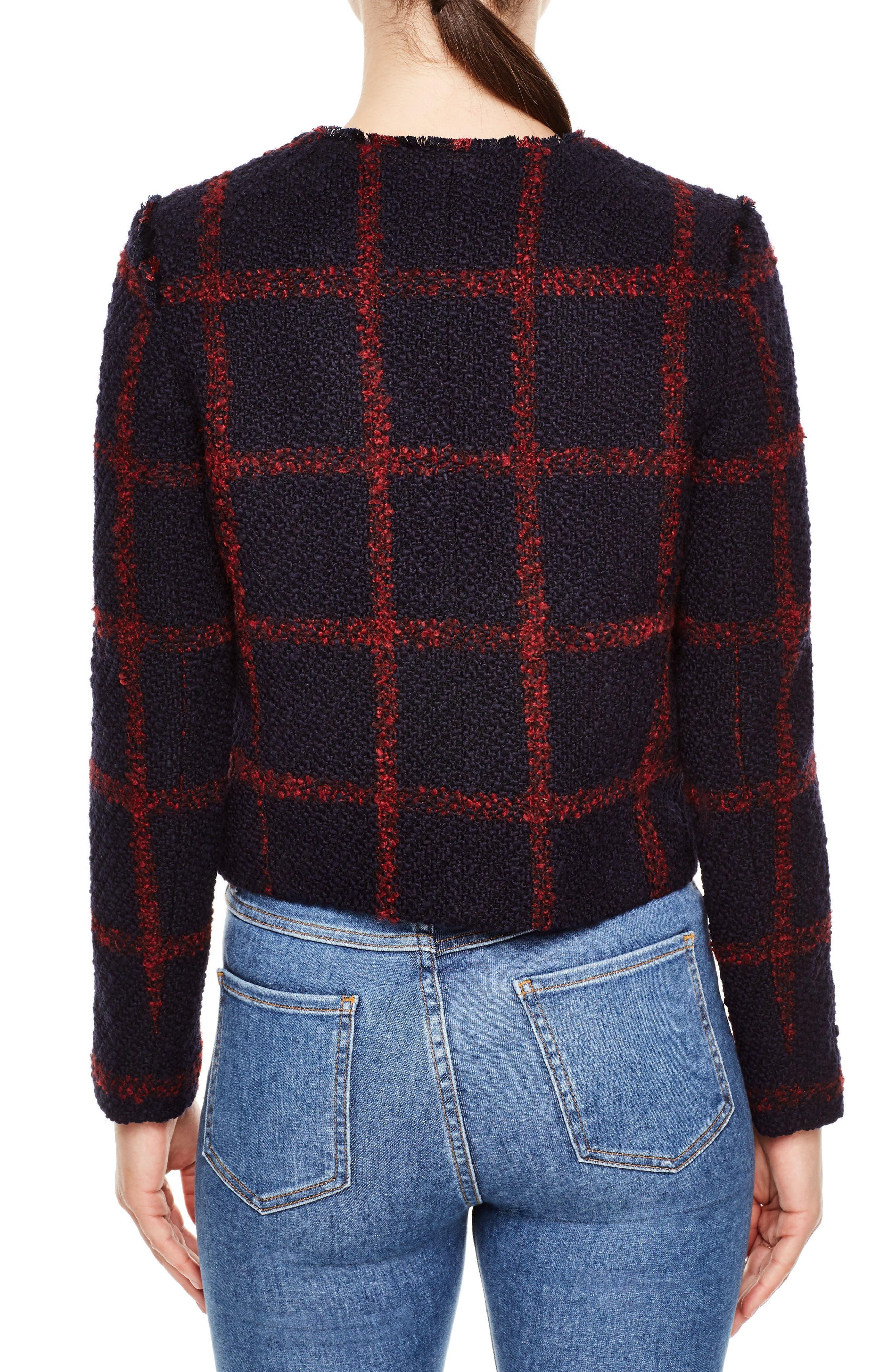 Crop Tweed Jacket,                             Alternate thumbnail 2, color,                             Navy