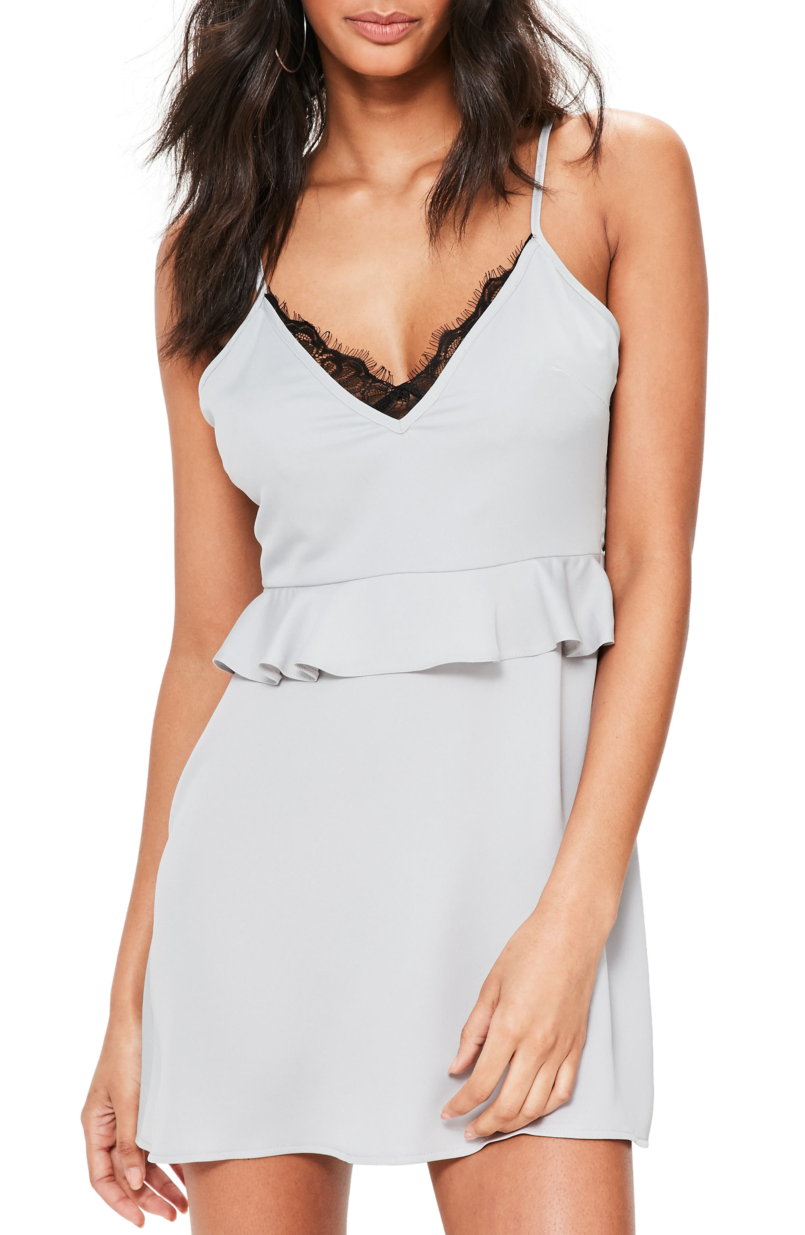 Alternate Image 4  - Missguided Lace Trim Peplum Minidress