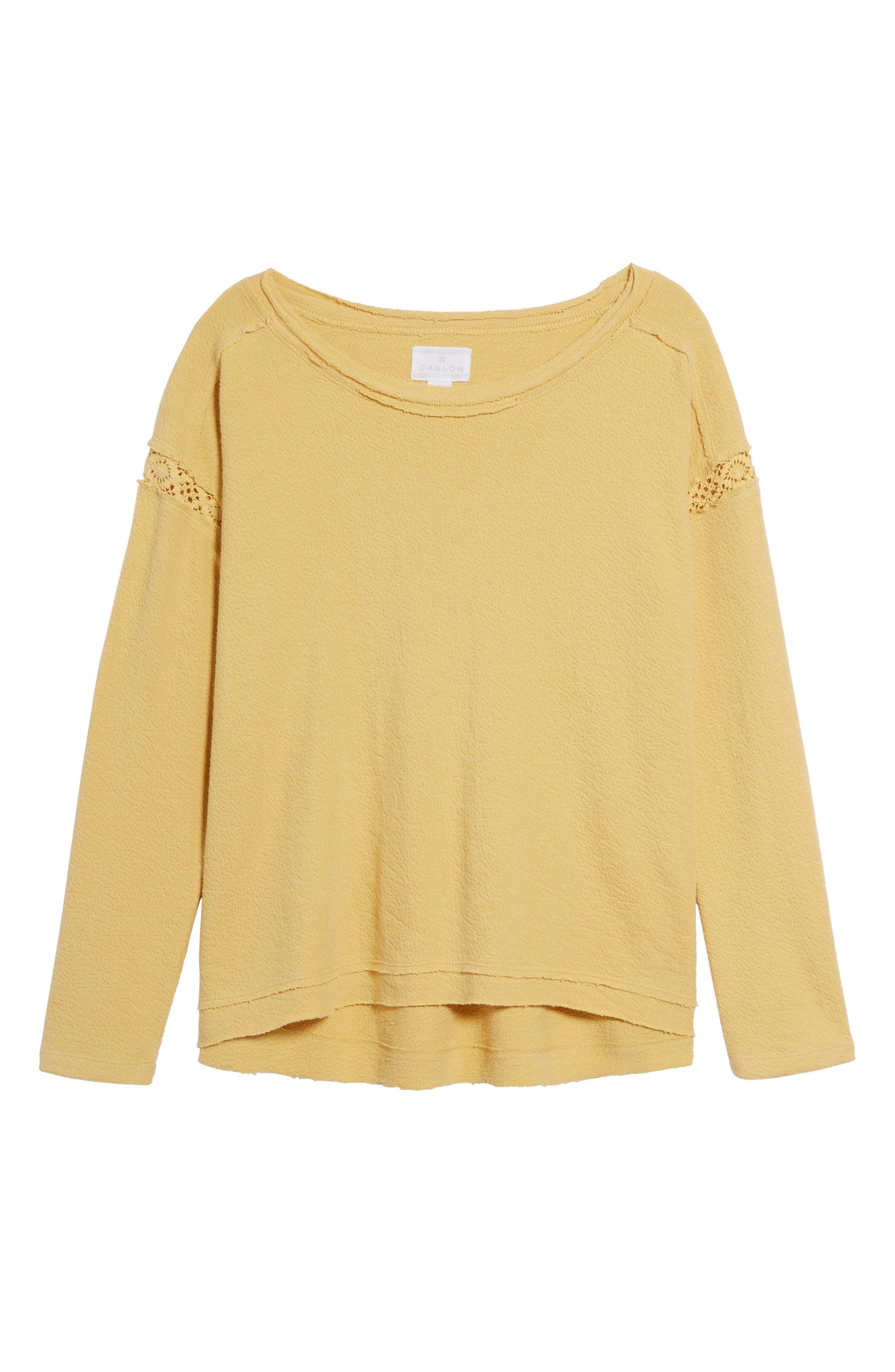Alternate Image 6  - Caslon® Crochet Lace Trim Sweatshirt