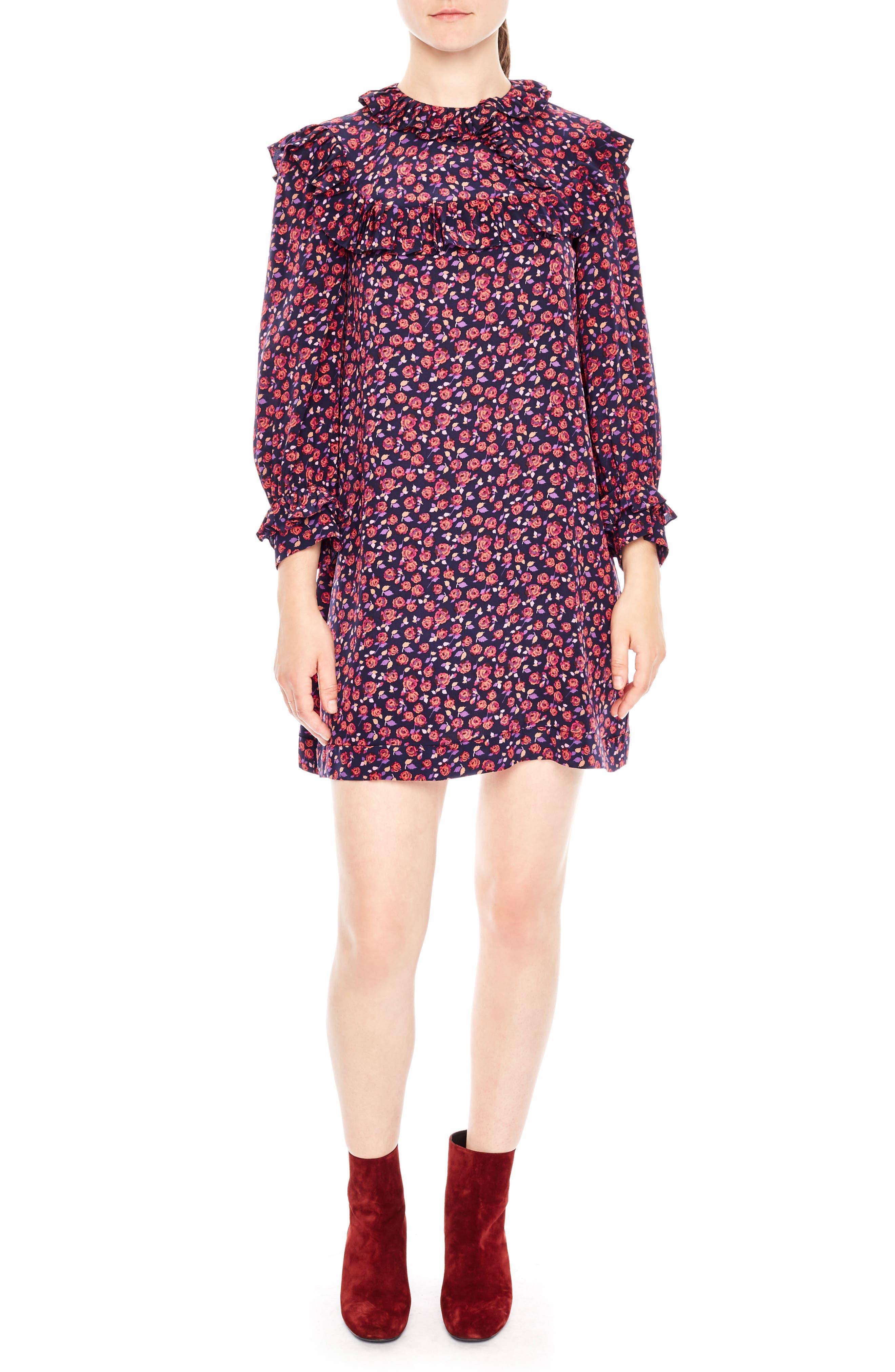 Main Image - sandro Ruffle Floral Print Silk Shift Dress