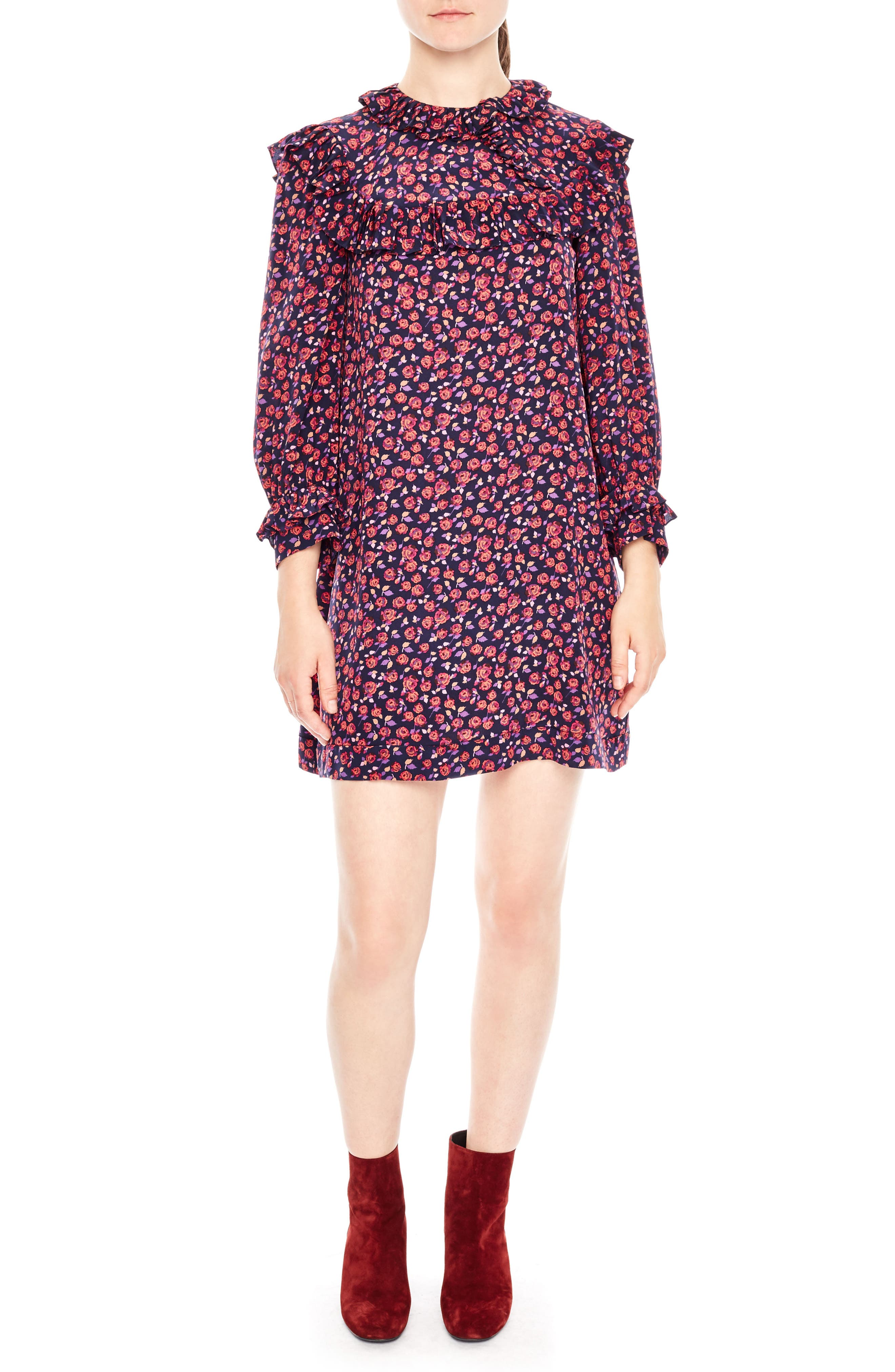 sandro Ruffle Floral Print Silk Shift Dress