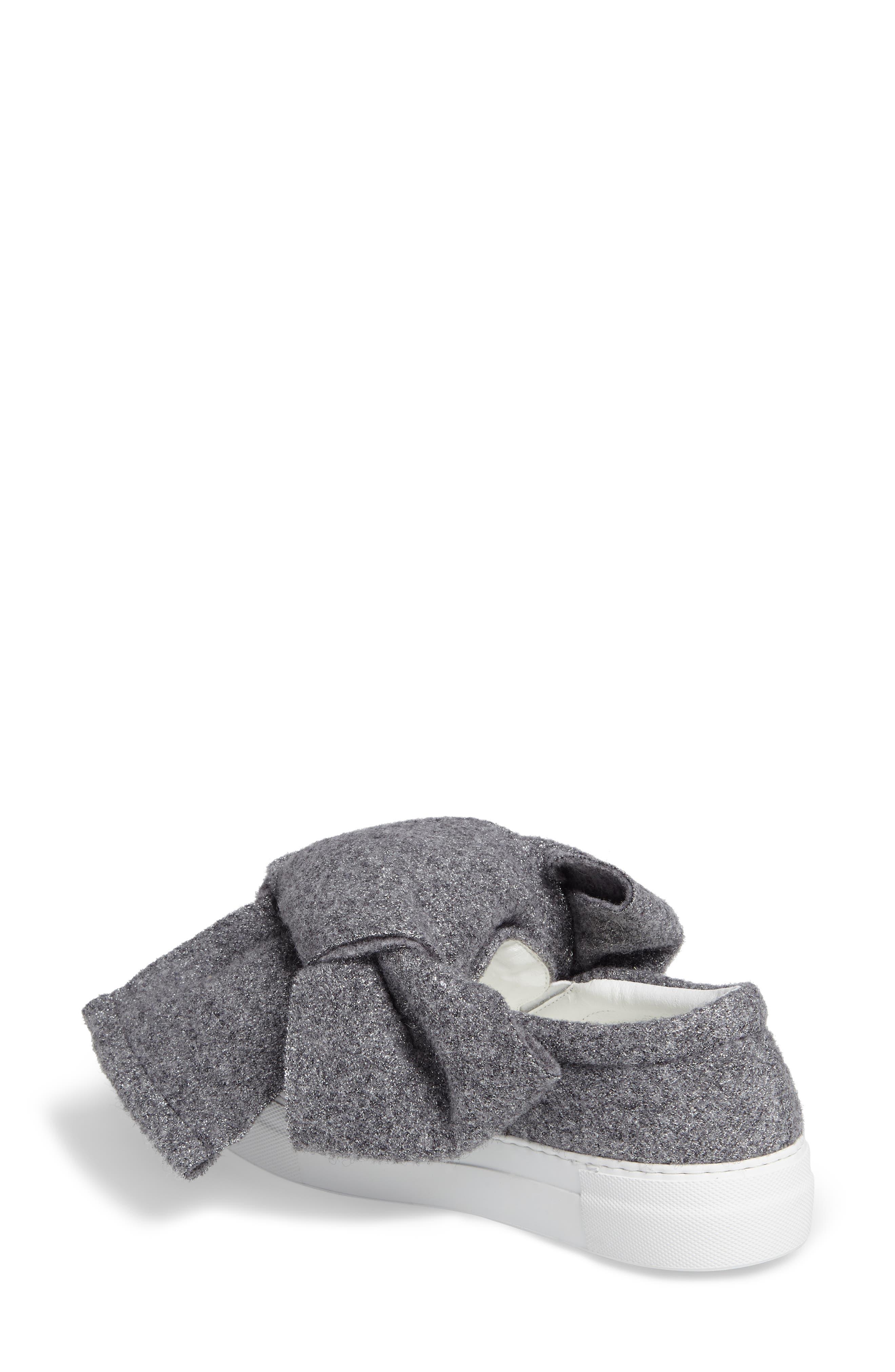 Bow Slip-On Sneaker,                             Alternate thumbnail 2, color,                             Grey Lurex Felt