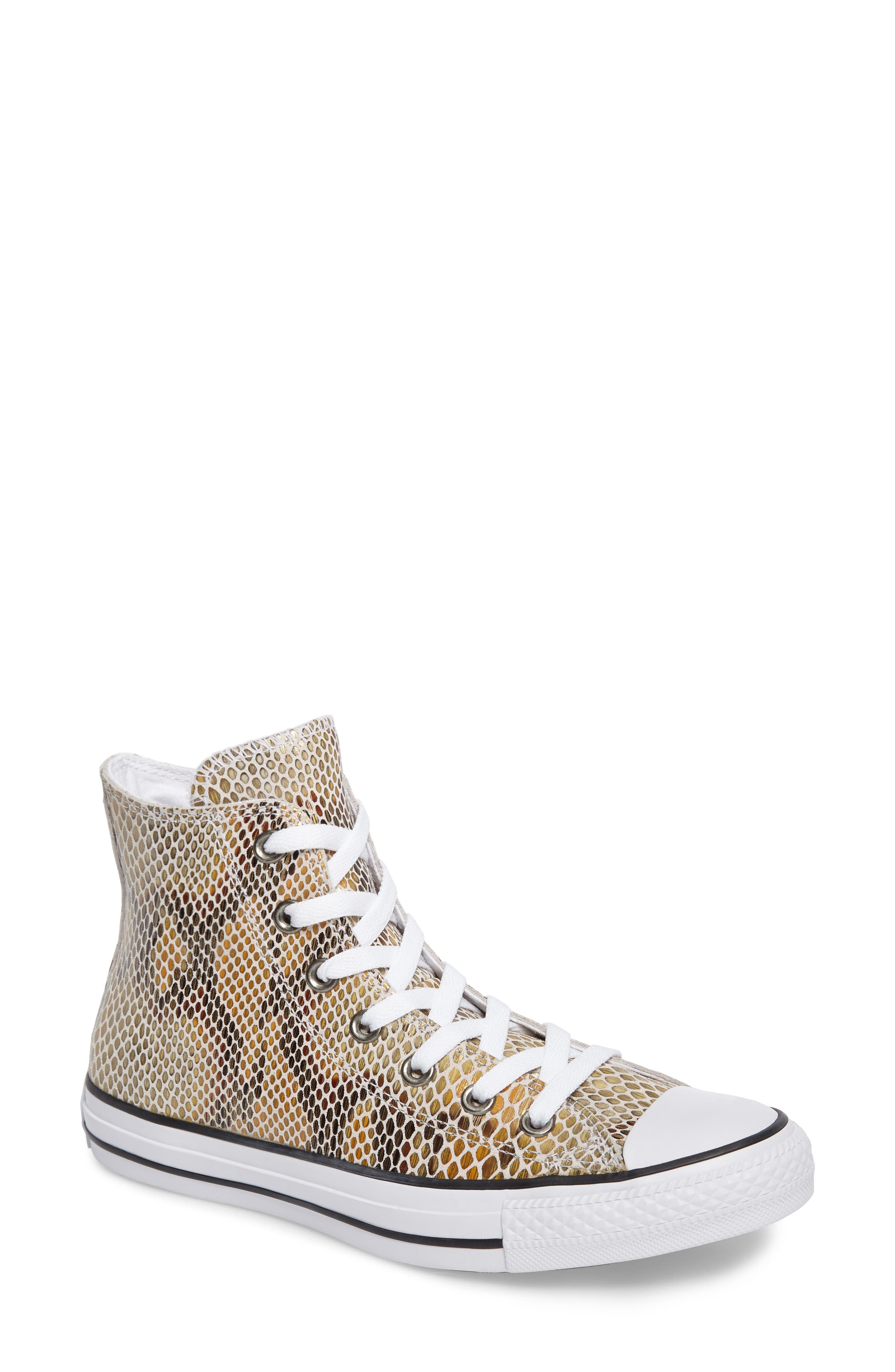 Chuck Taylor<sup>®</sup> All Star<sup>®</sup> Snake Embossed High Top Sneaker,                             Main thumbnail 1, color,                             Clay