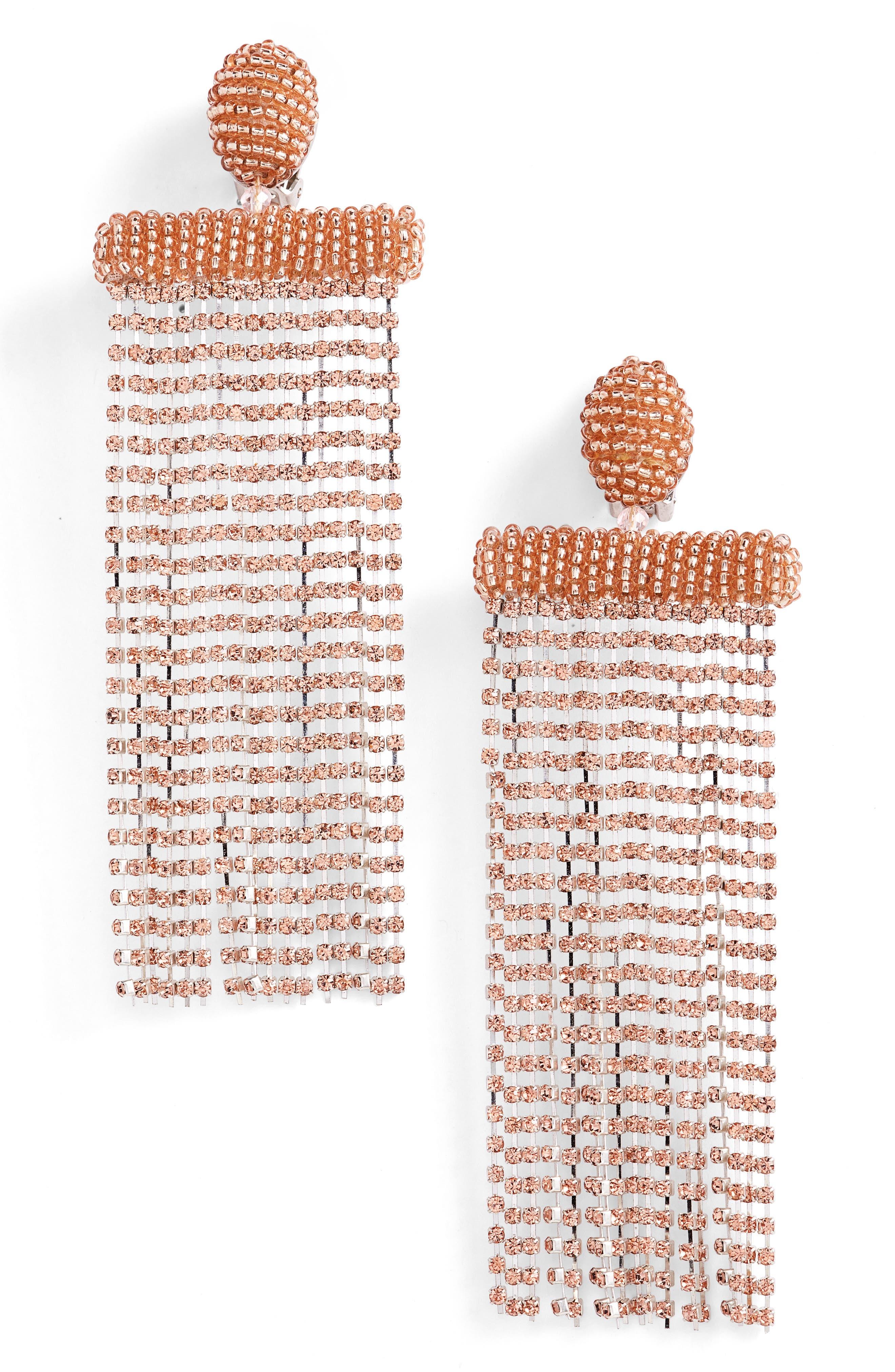 Waterfall Crystal Earrings,                         Main,                         color, Sorbet