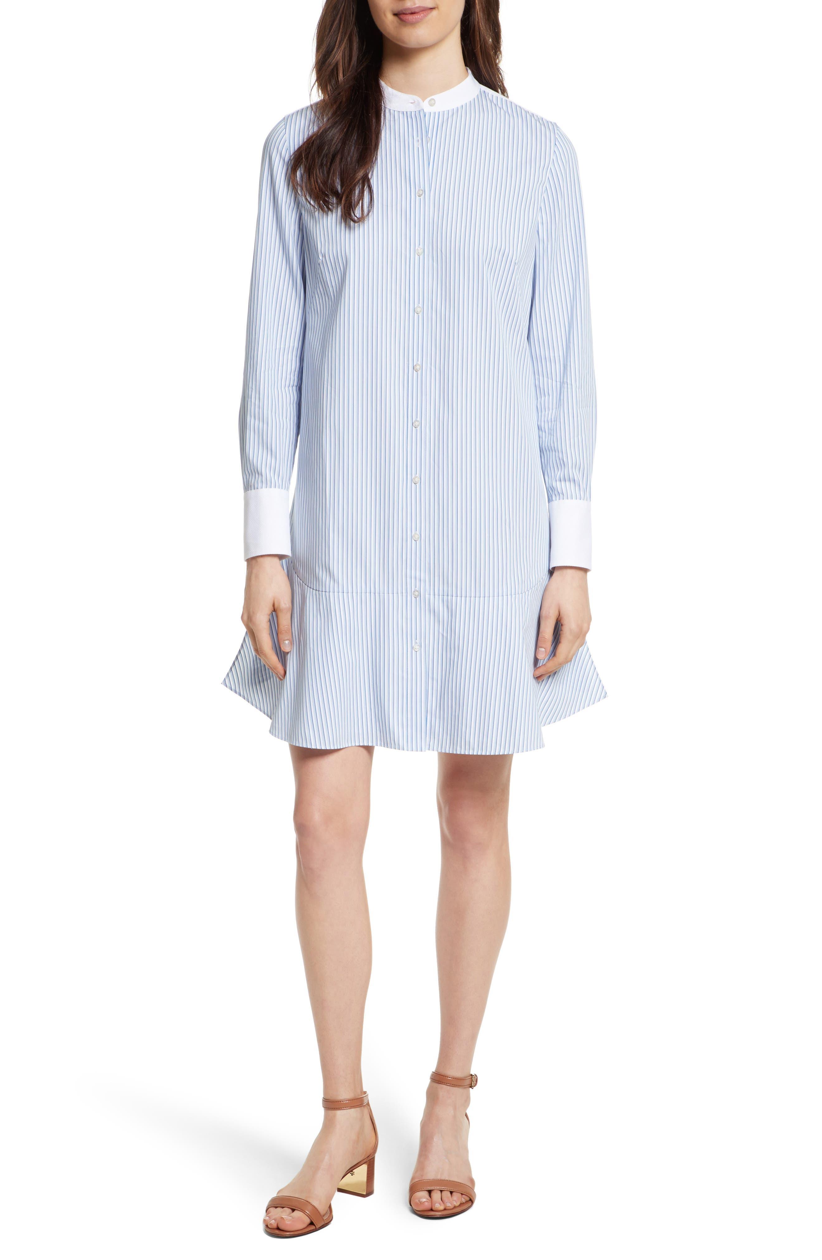 Cora Stripe Shirtdress,                         Main,                         color, Ombre Blue Striped