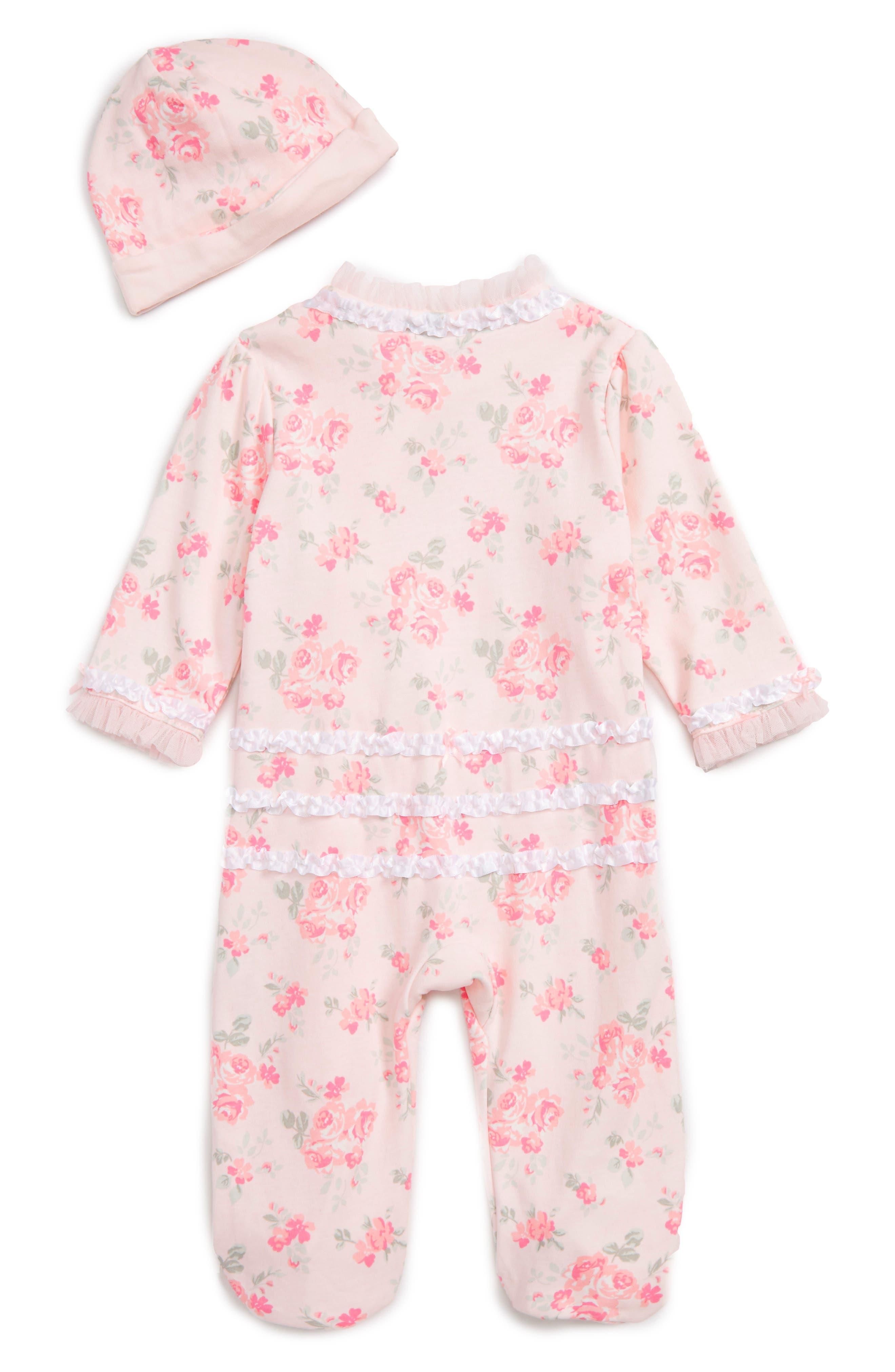 Footie & Beanie Set,                             Alternate thumbnail 2, color,                             Pink Floral