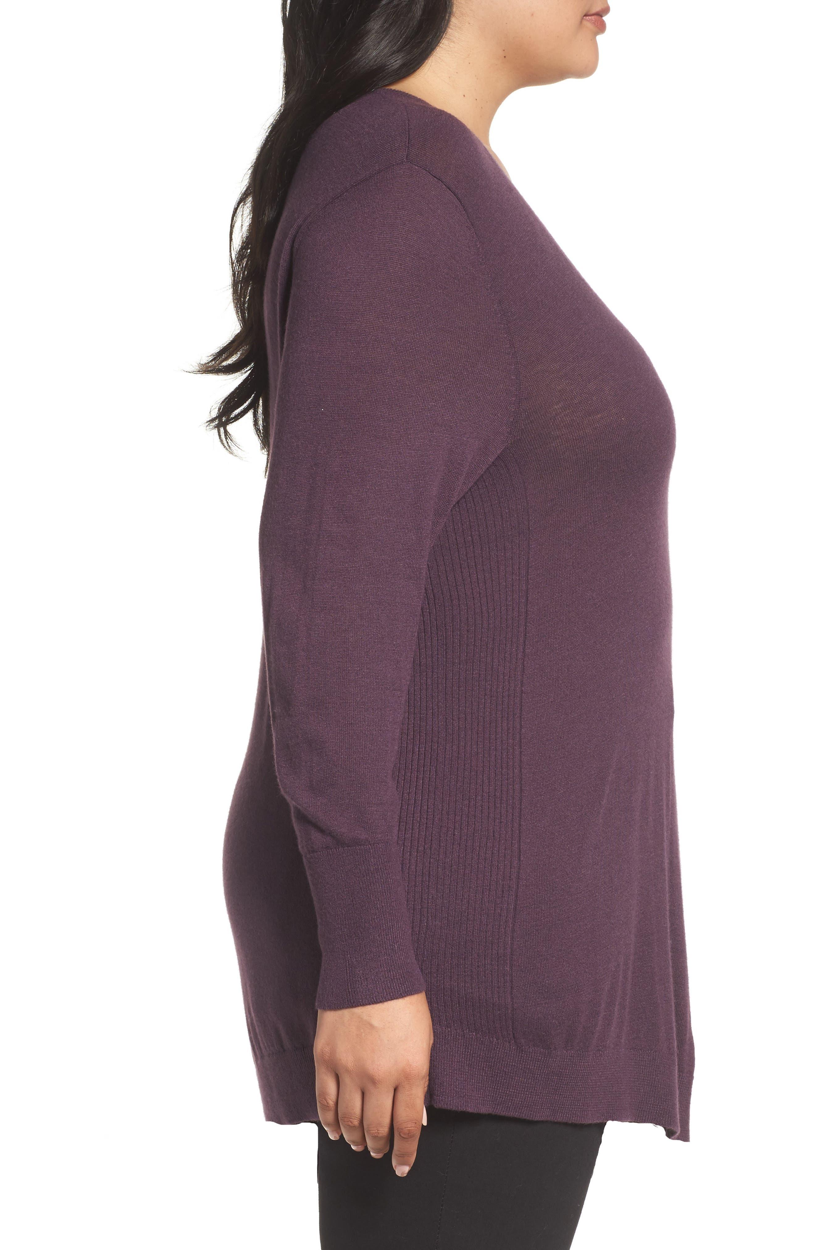 V-Neck Asymmetrical Tunic,                             Alternate thumbnail 3, color,                             Purple Plum