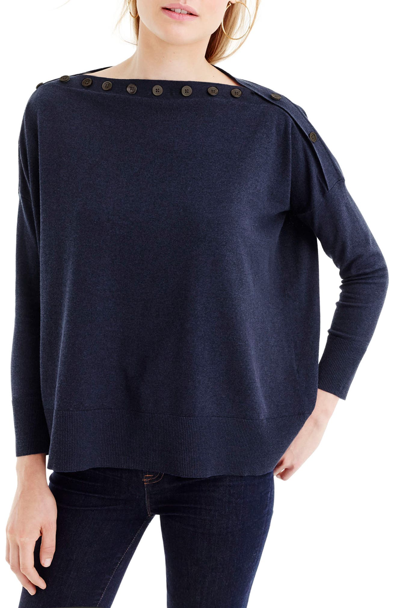 J.Crew Button Boatneck Sweater
