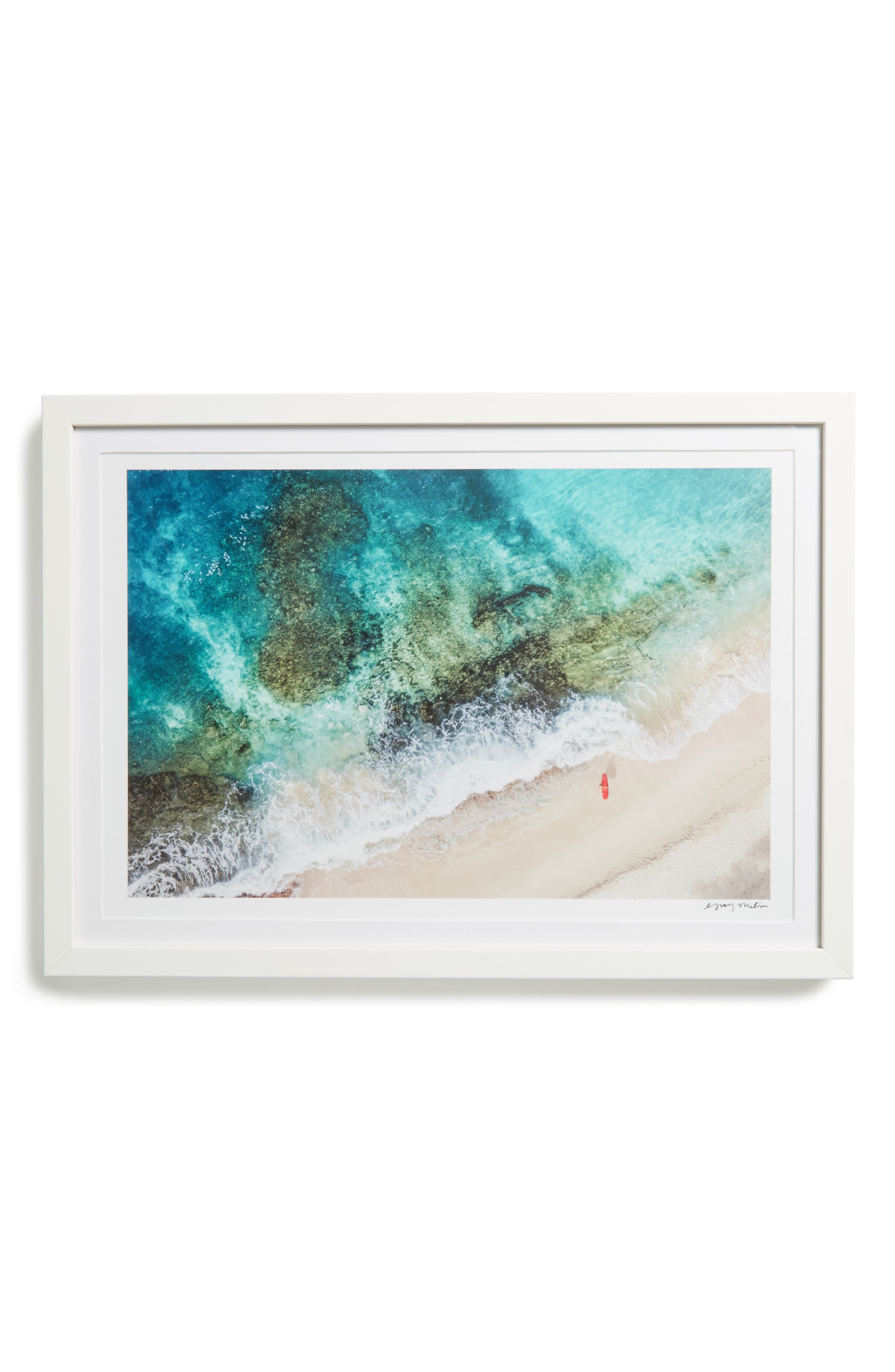 St. Barth's Surfboard Framed Art Print,                         Main,                         color, Blue