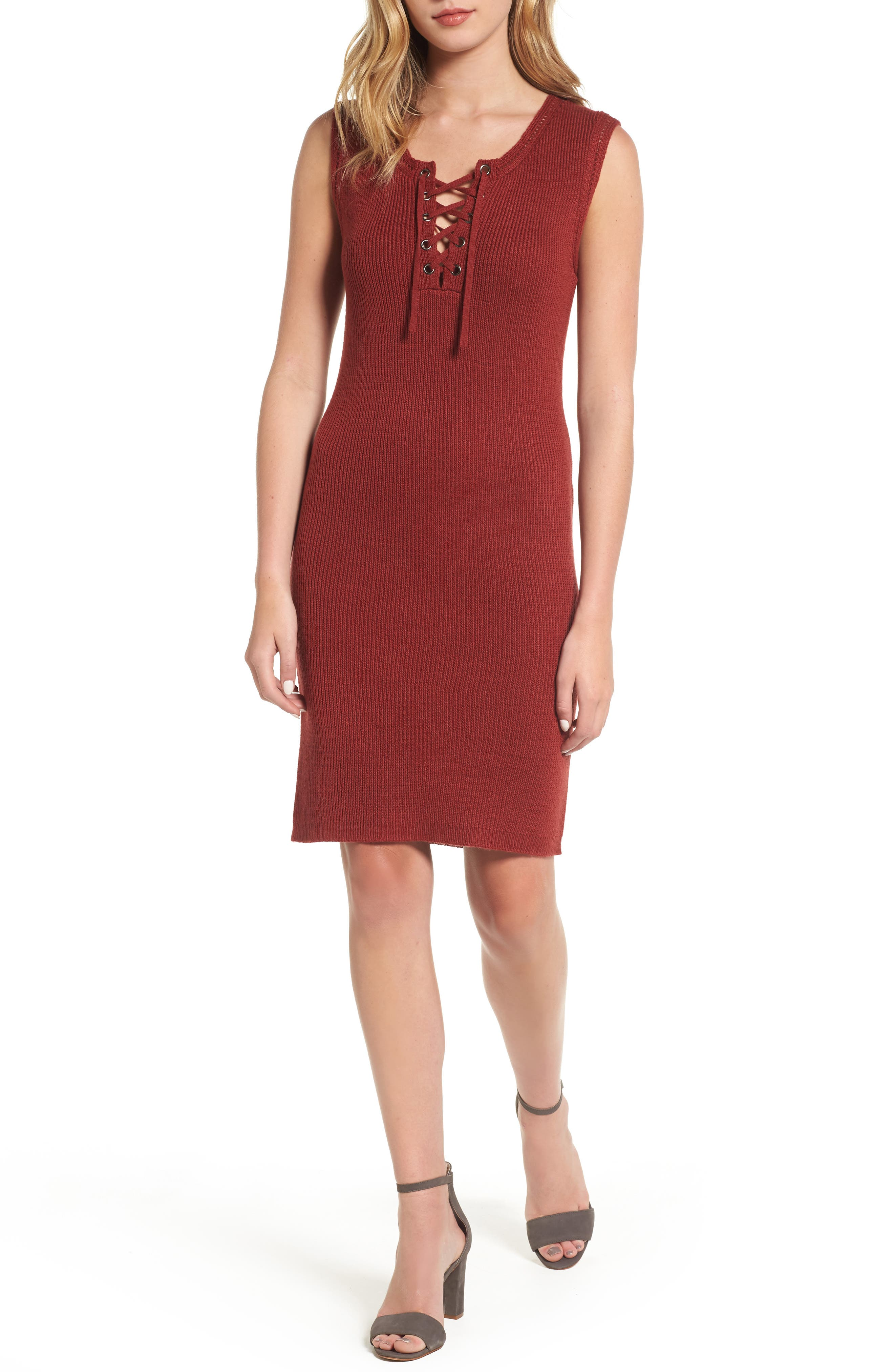 Thora Sheath Dress,                             Main thumbnail 1, color,                             Brick