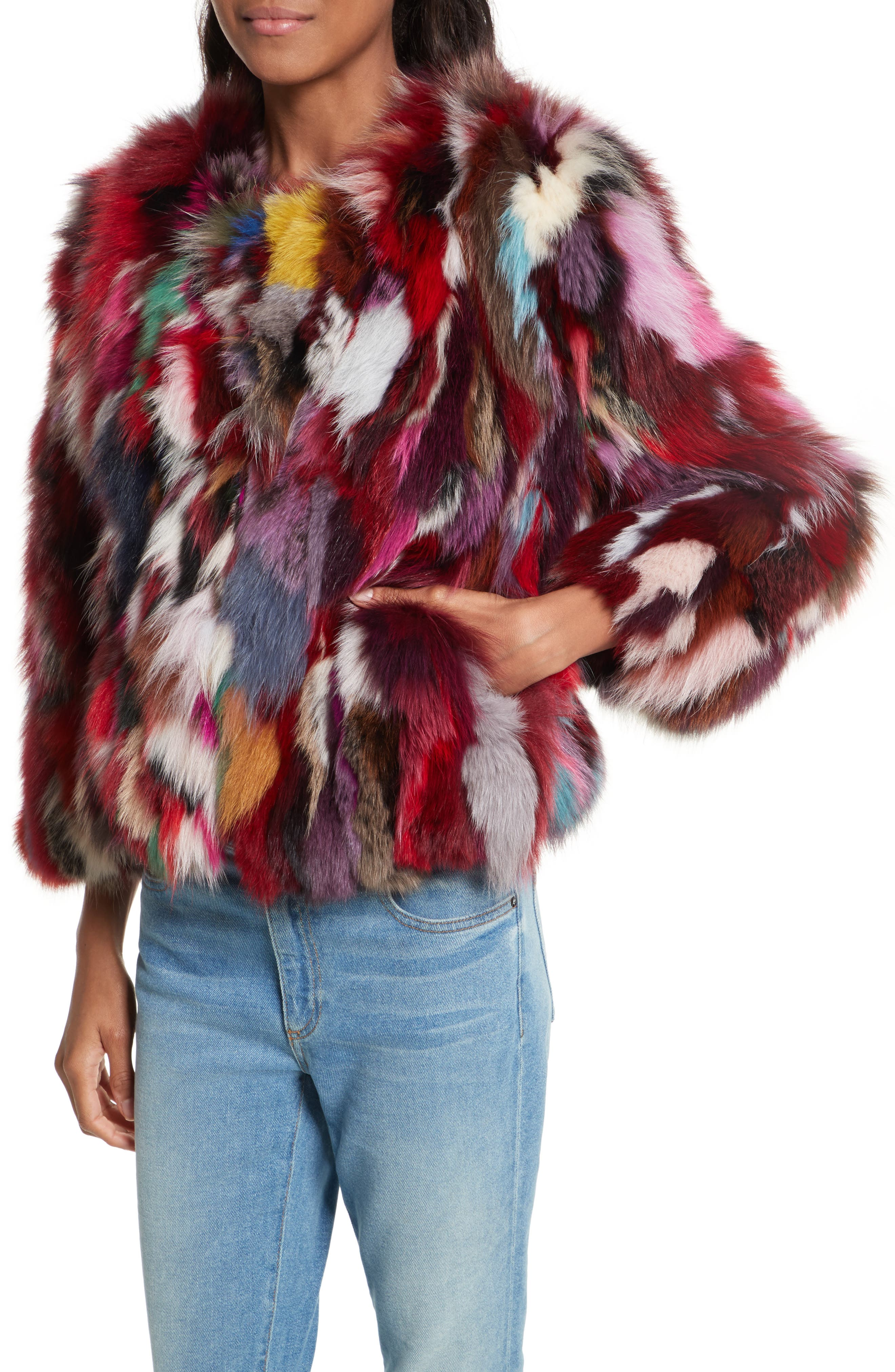 Rachel Genuine Fox Fur Jacket,                             Alternate thumbnail 4, color,                             Multi