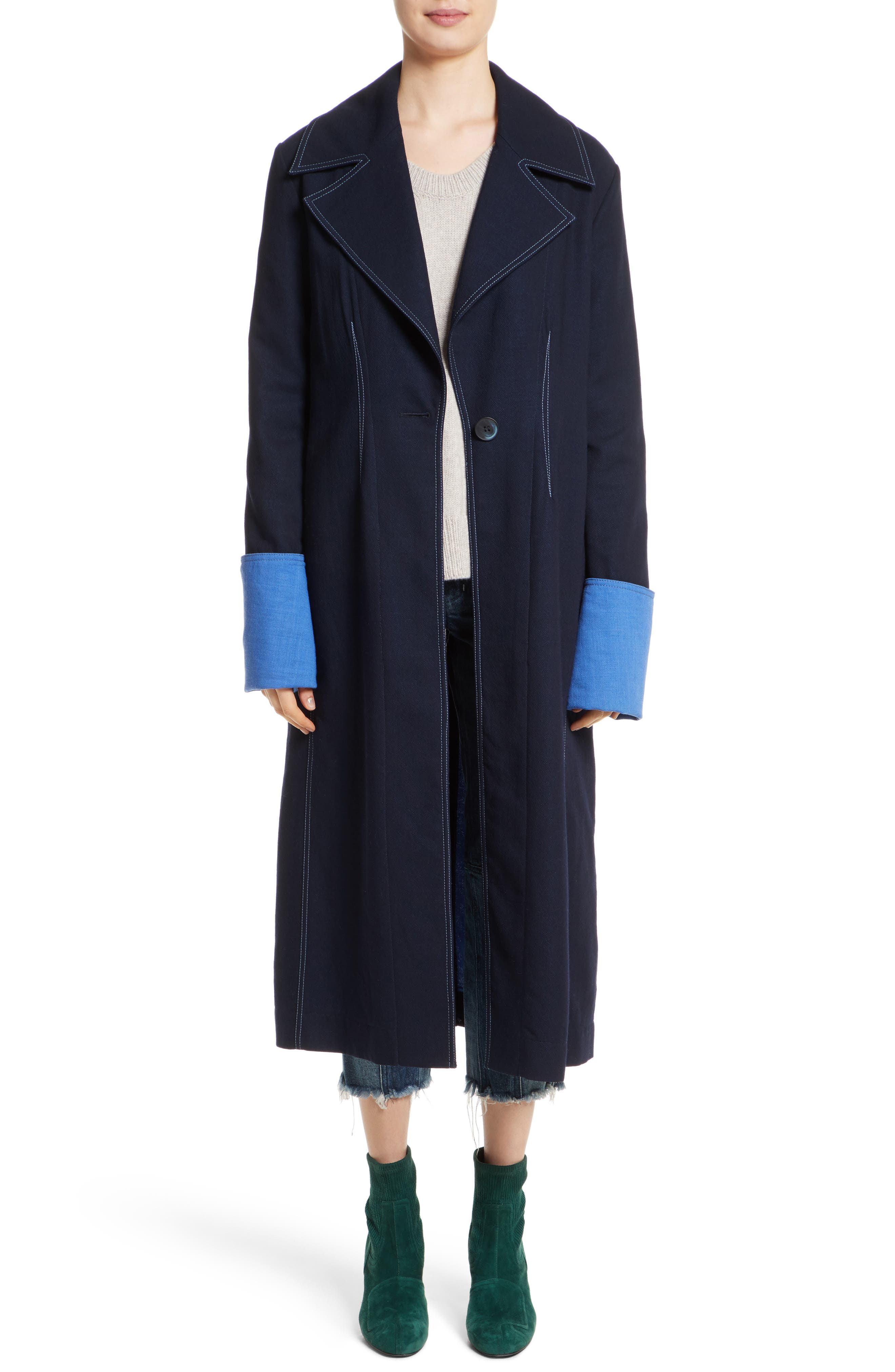 Colovos Contrast Cuff Wool Coat - COLOVOS
