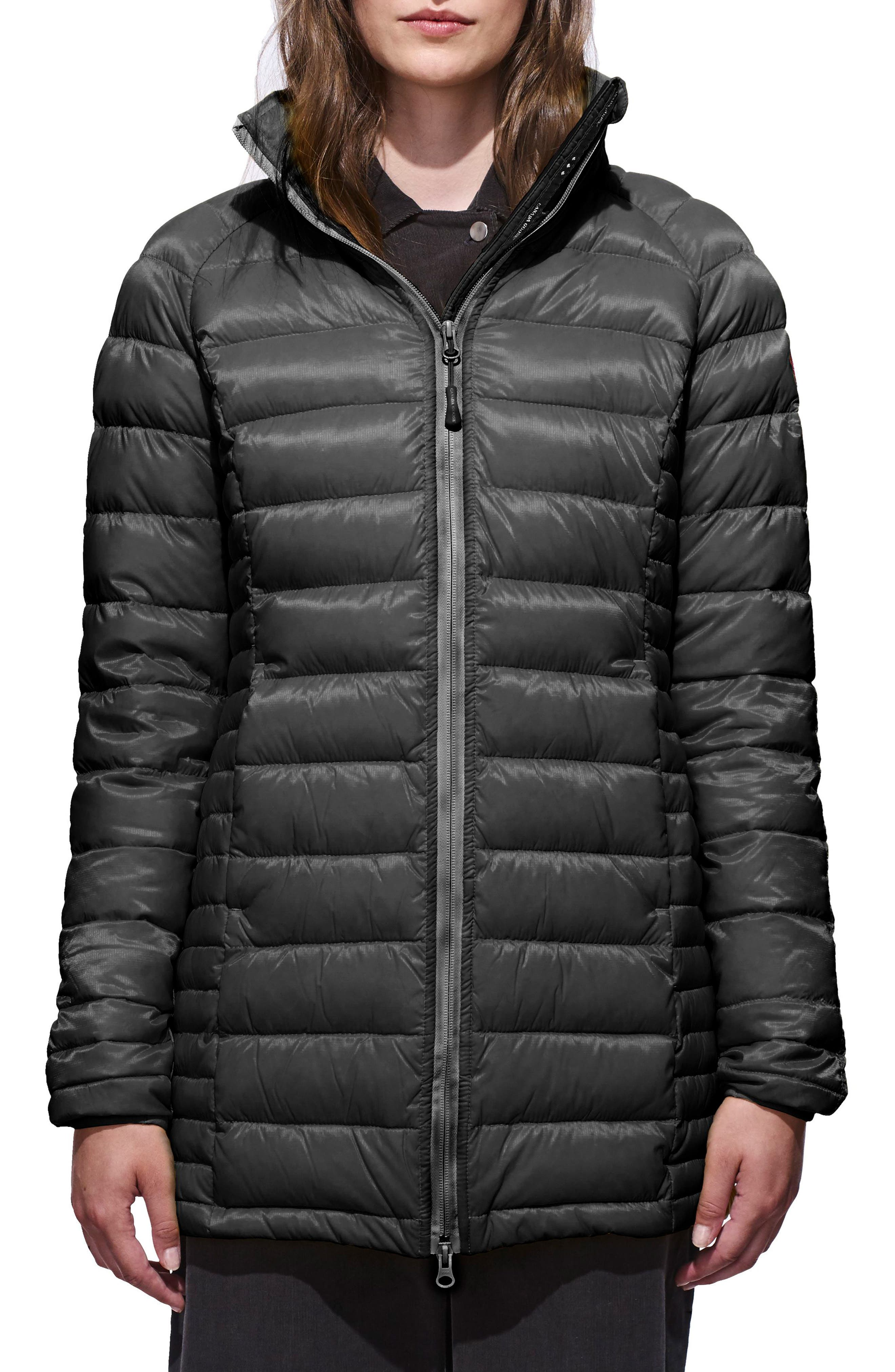 'Brookvale' Hooded Quilted Down Coat,                             Main thumbnail 1, color,                             Graphite/ Black