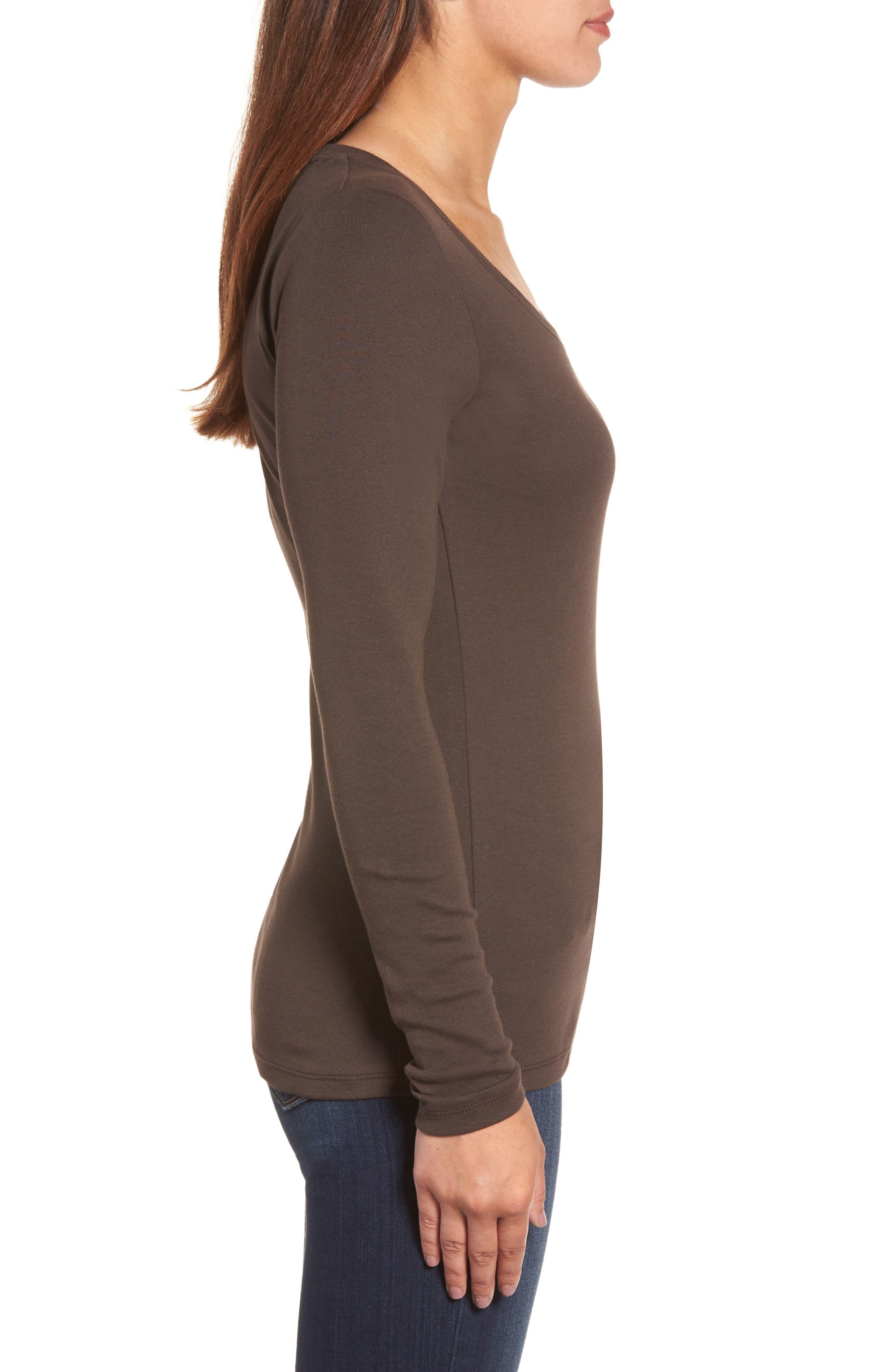 Alternate Image 3  - Caslon® 'Melody' Long Sleeve Scoop Neck Tee (Regular & Petite)