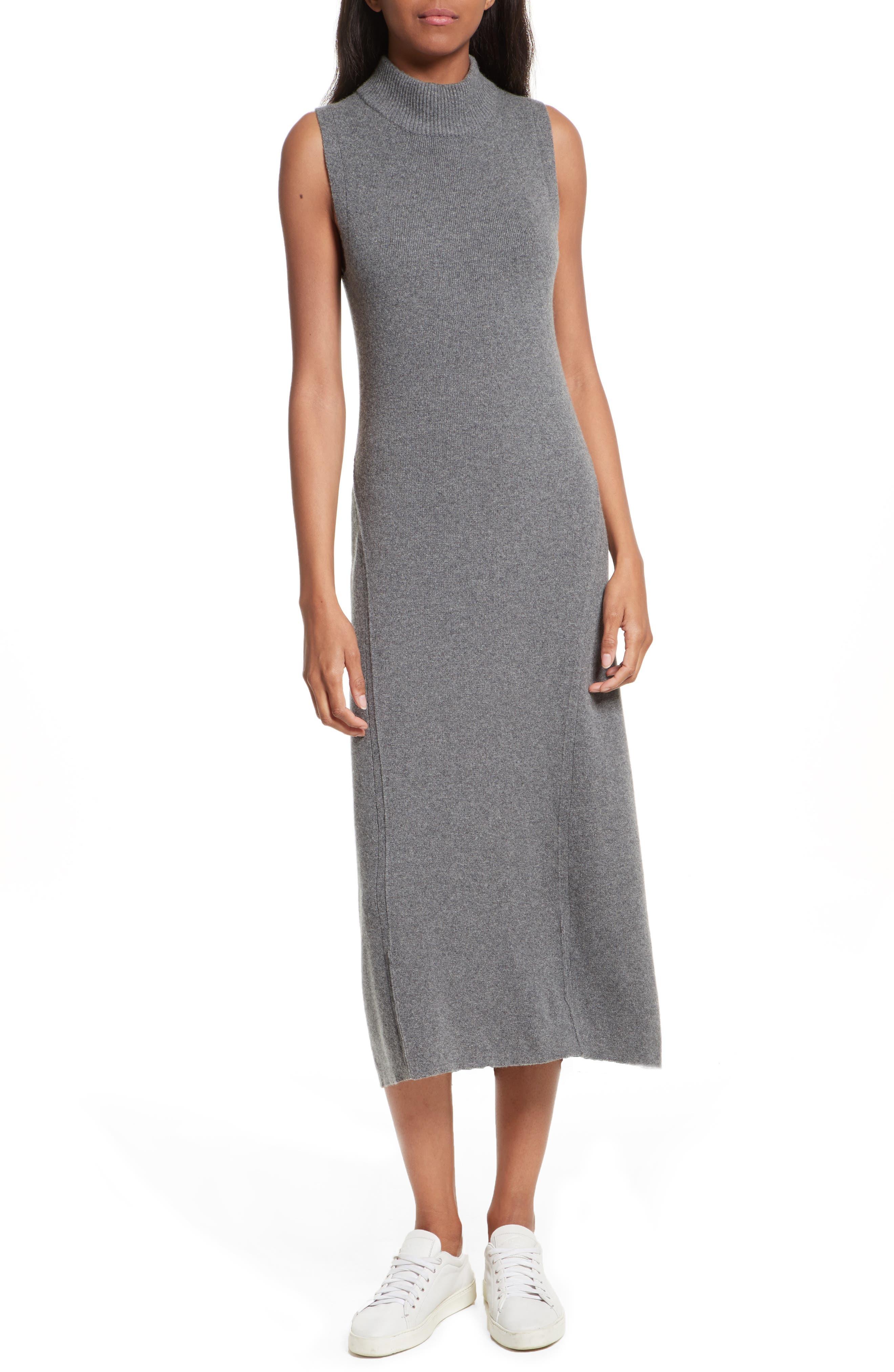 Ace Cashmere Mock Neck Sweater Dress,                         Main,                         color, Charcoal