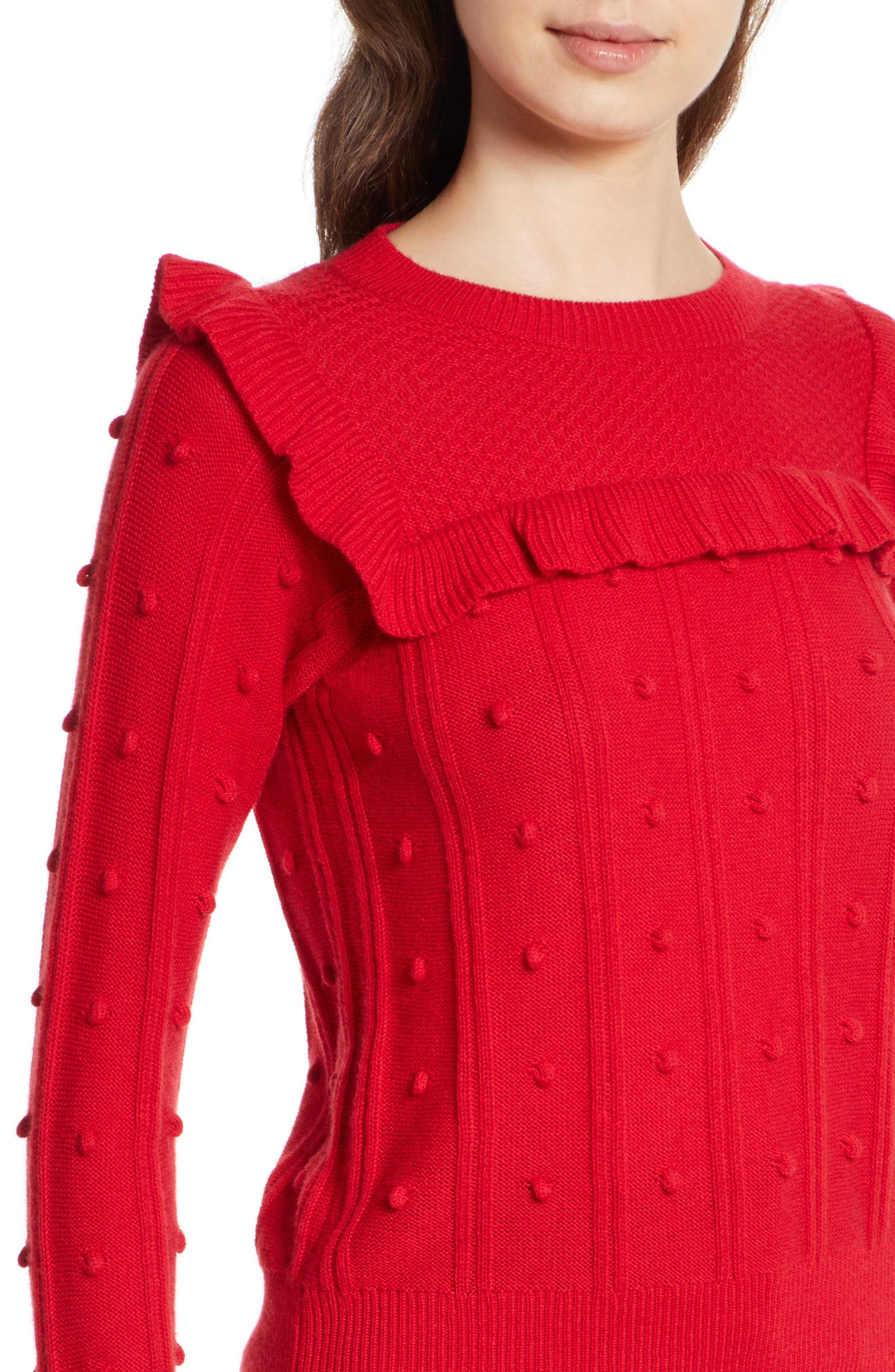 ruffle yoke sweater,                             Alternate thumbnail 5, color,                             Charm Red
