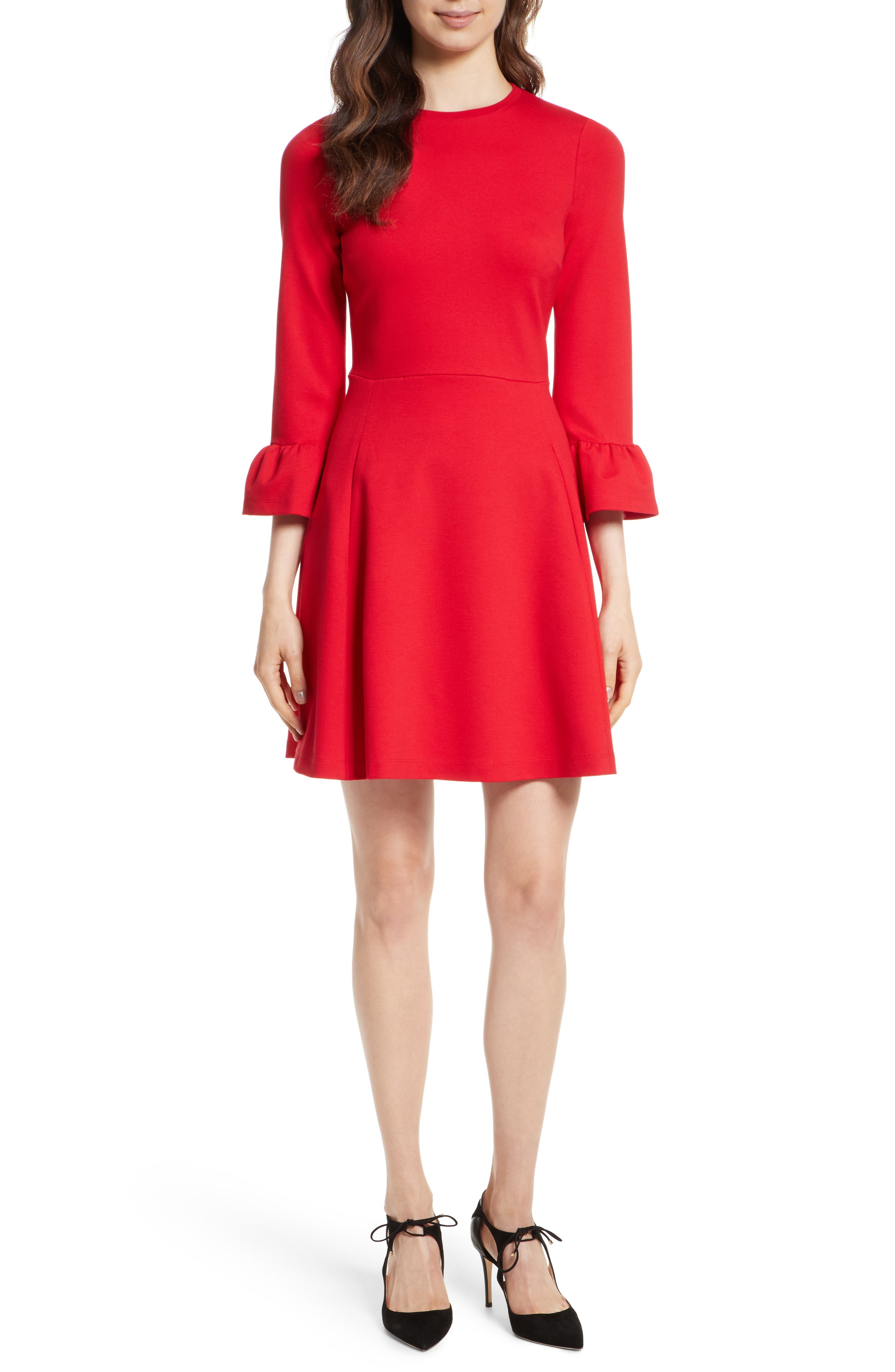 ponte knit fit & flare dress,                             Main thumbnail 1, color,                             Charm Red