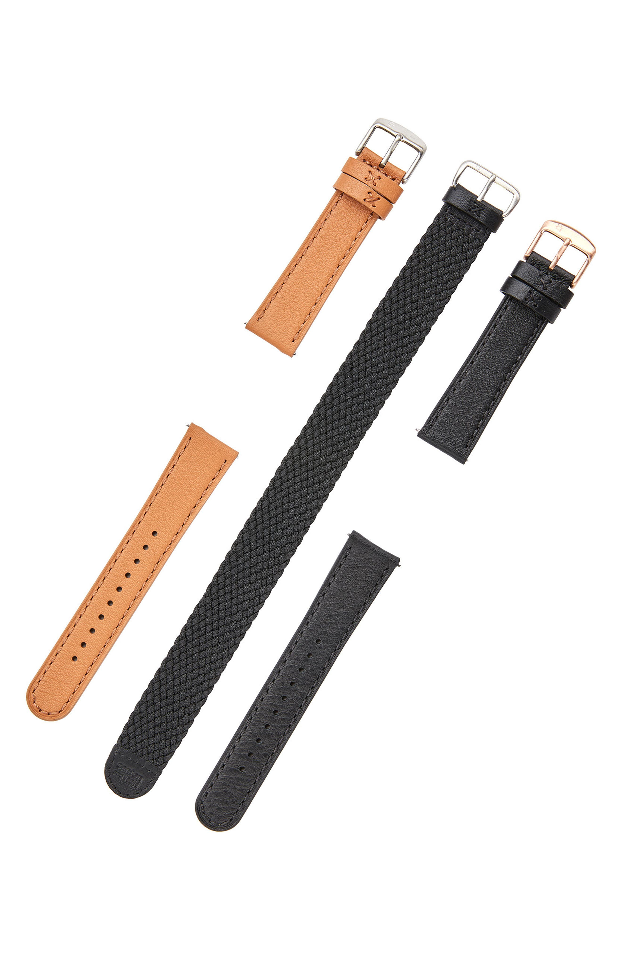 Leather Watch Strap, 20mm,                             Alternate thumbnail 3, color,                             Black