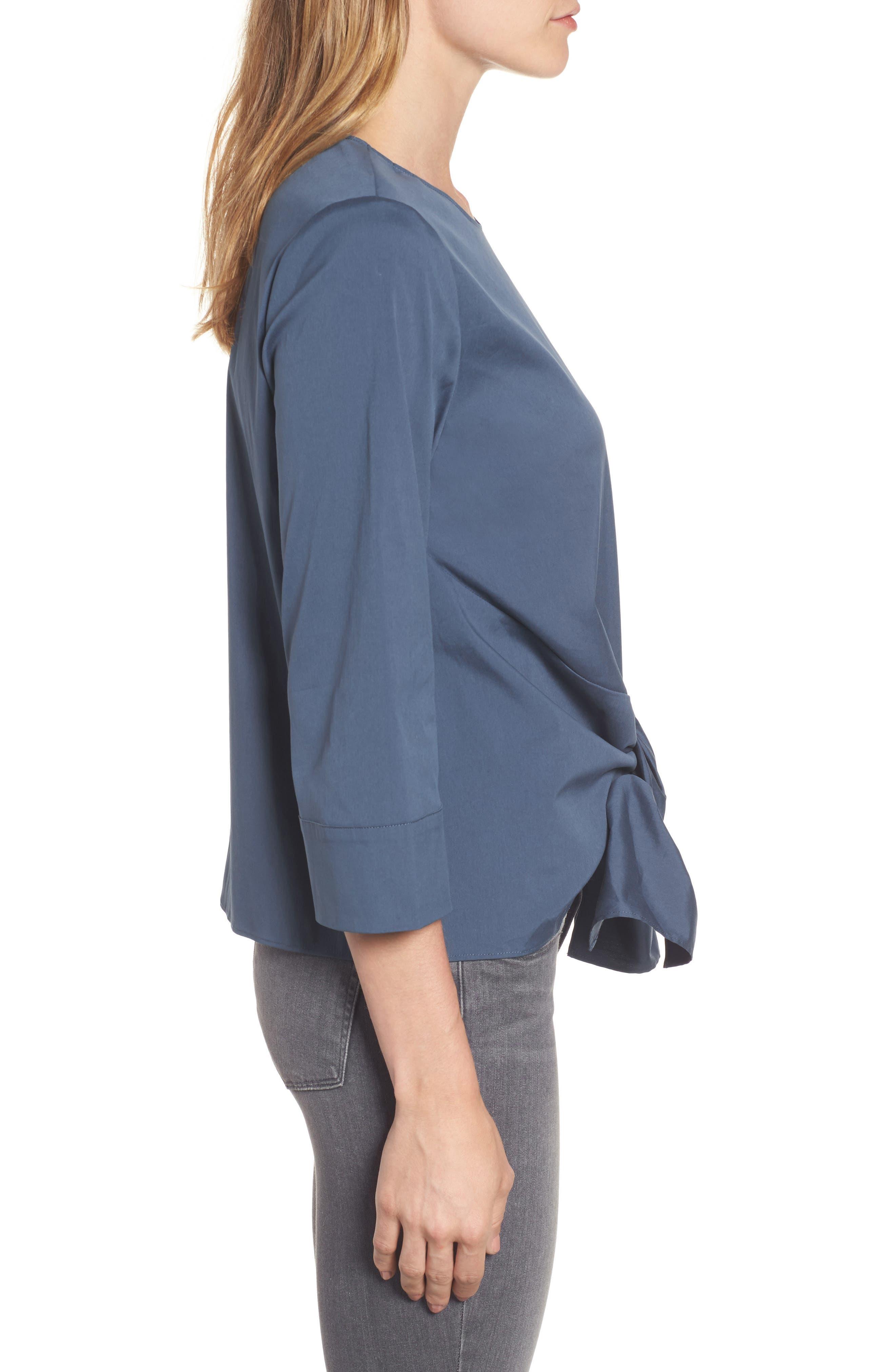 Alternate Image 2  - Halogen® Tie Front Blouse (Regular & Petite)