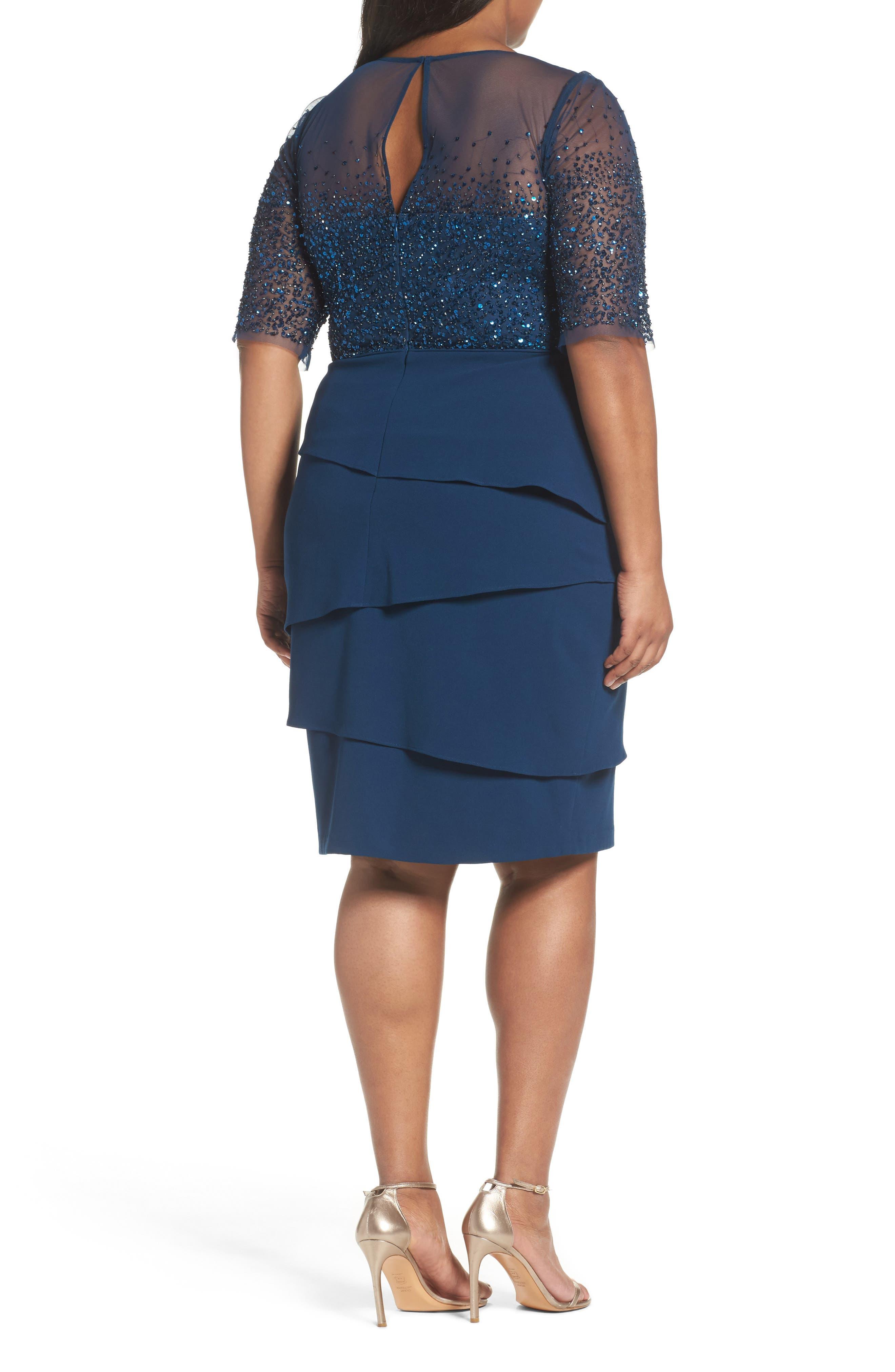 Beaded Bodice Sheath Dress,                             Alternate thumbnail 2, color,                             Deep Blue