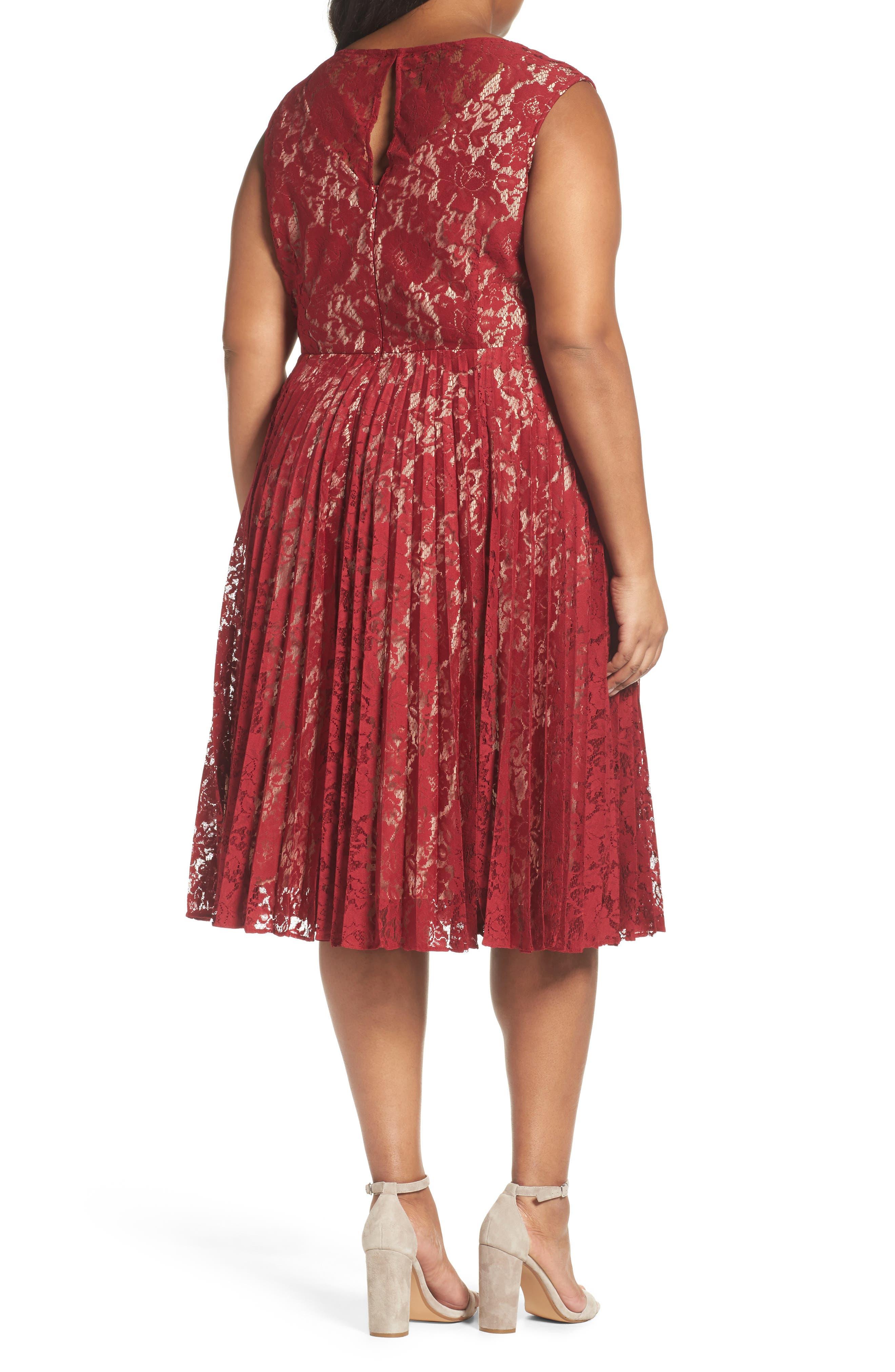 Alternate Image 2  - Gabby Skye Illusion Lace Pleat Midi Dress (Plus Size)