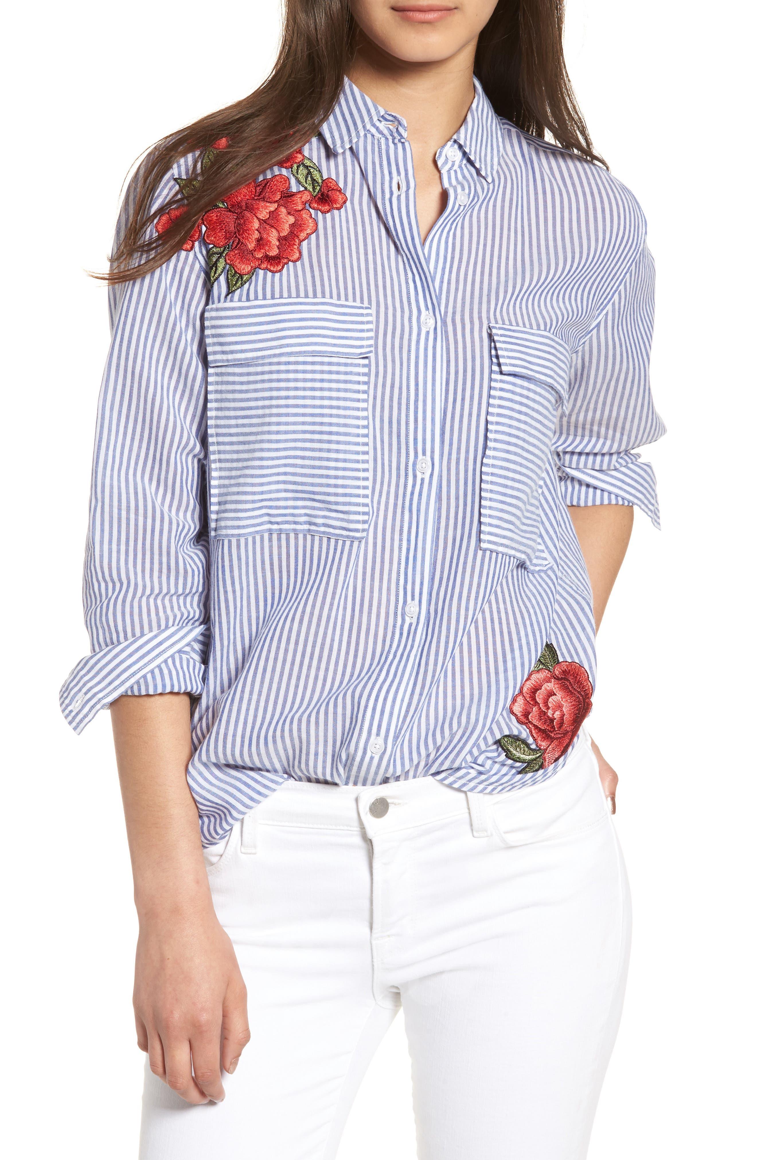 Frances Embroidered Stripe Shirt,                         Main,                         color, Banker Stripe/ Red Floral