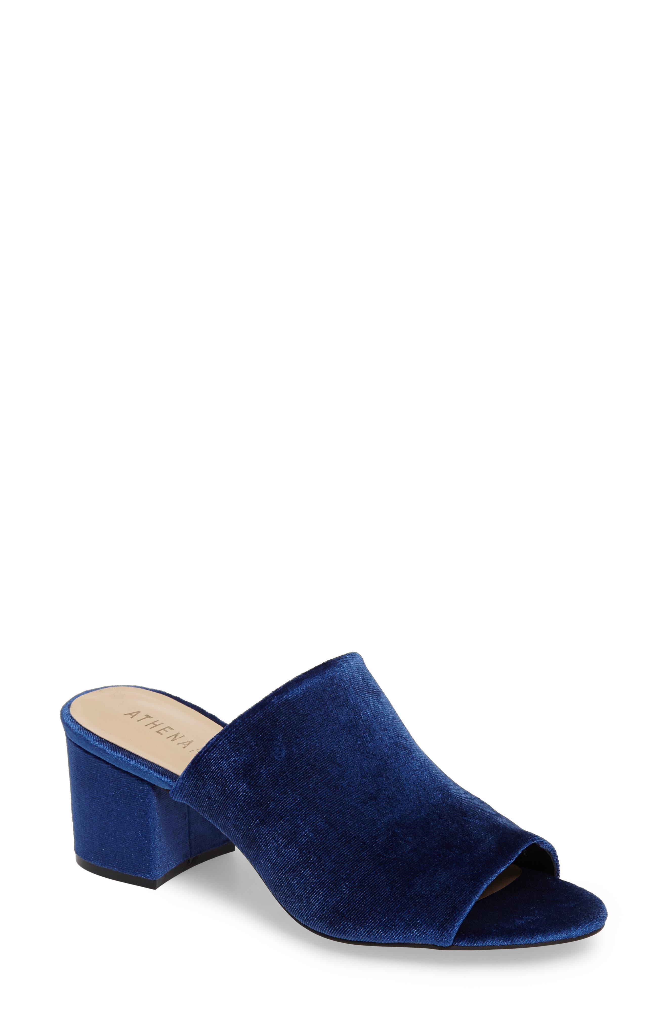 Robyne Slide Sandal,                         Main,                         color, Navy Velvet