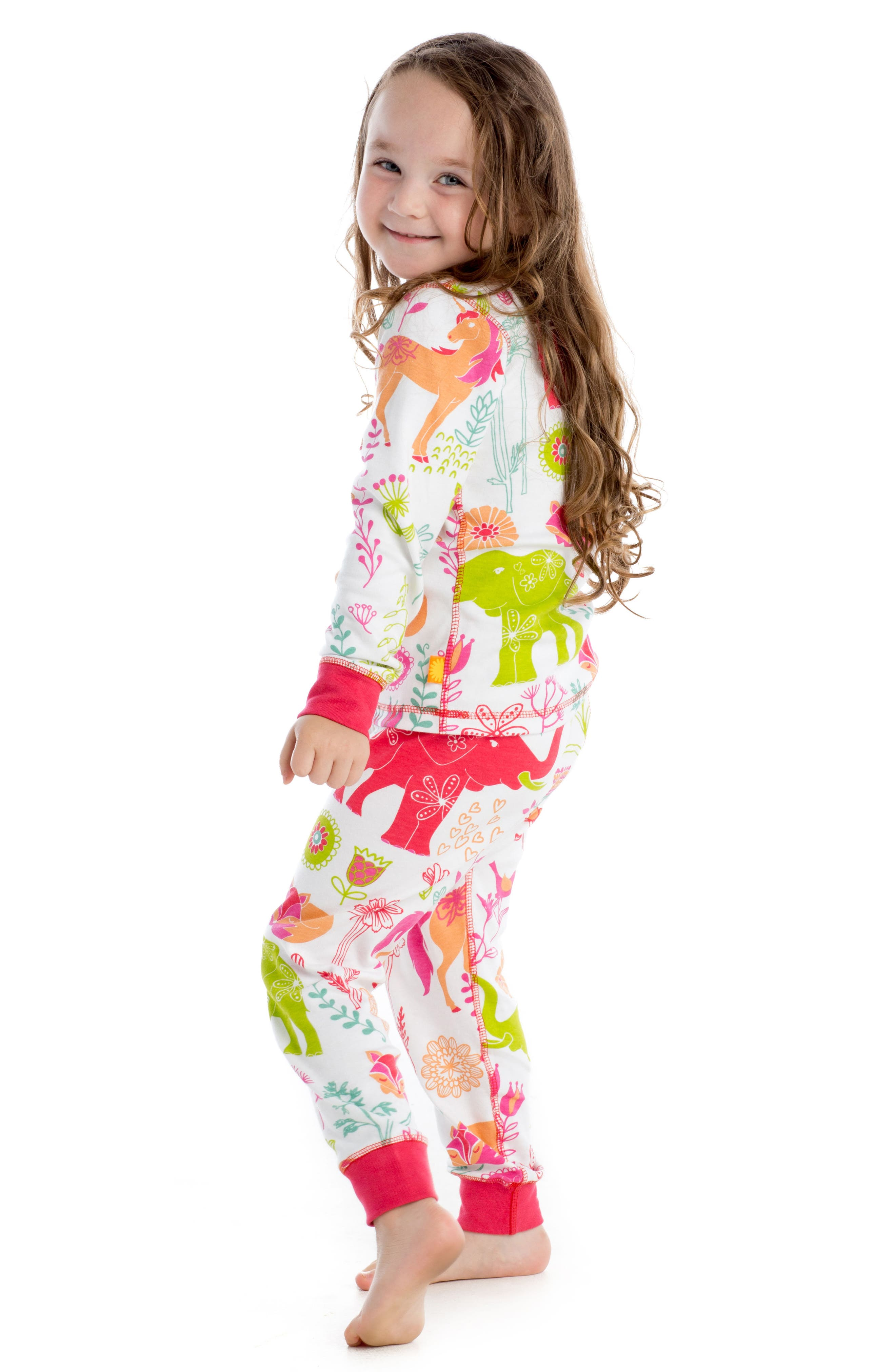 Magical Forest Fitted Two-Piece Pajamas,                             Alternate thumbnail 4, color,                             Pink