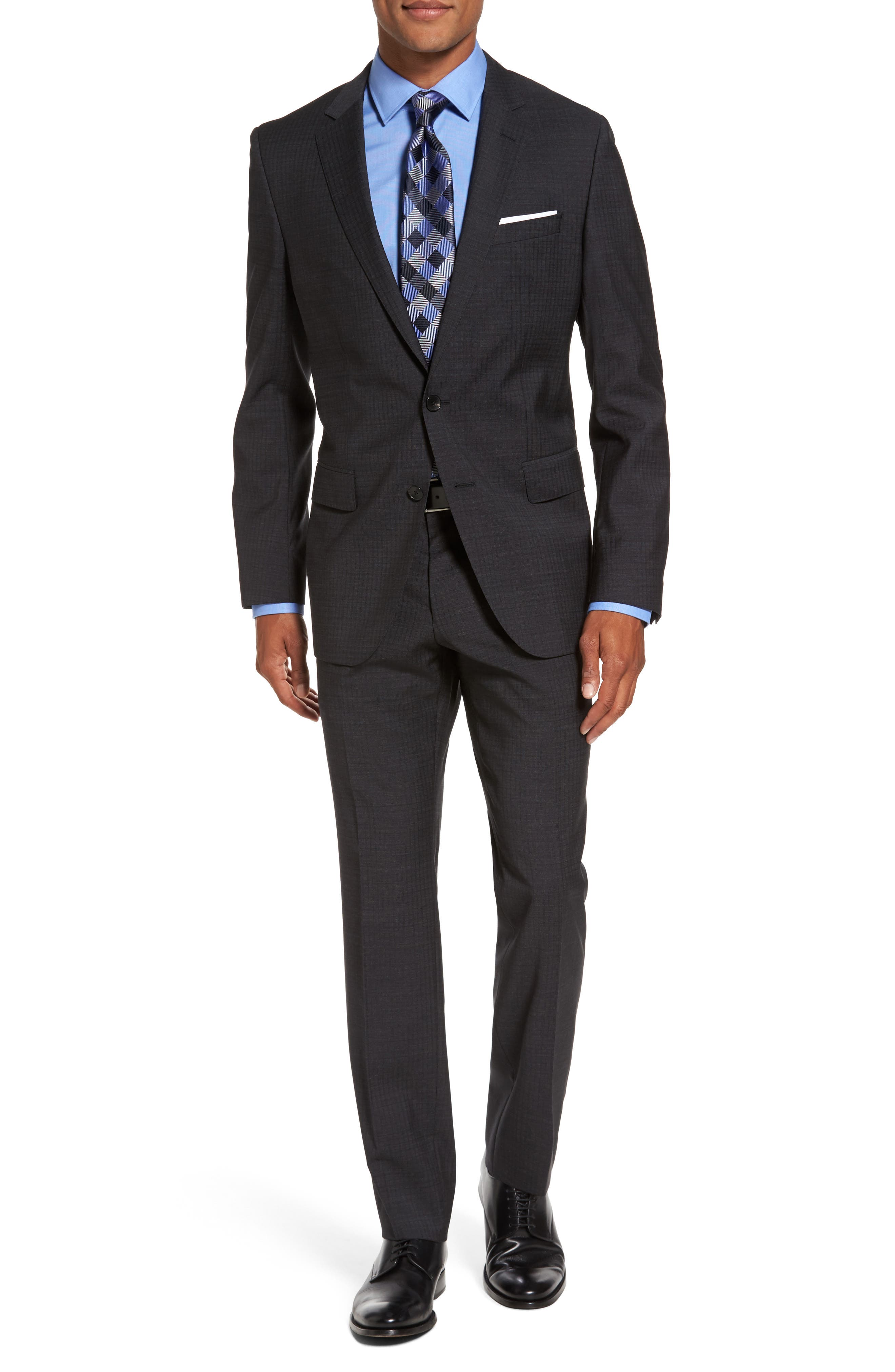 Main Image - BOSS Huge/Genius Trim Fit Check Wool Suit