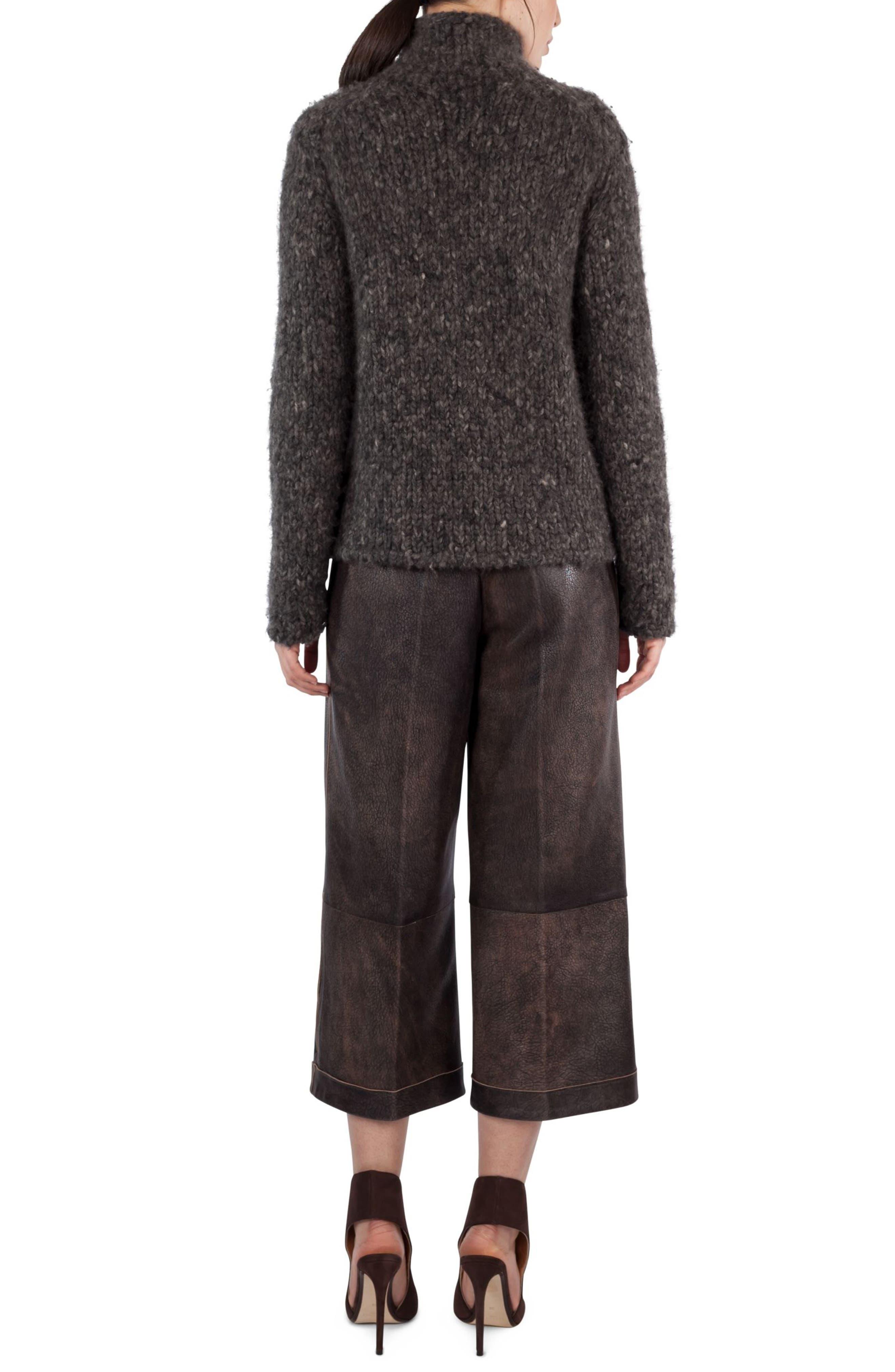 Alternate Image 2  - Akris Antiqued Nappa Leather Culottes