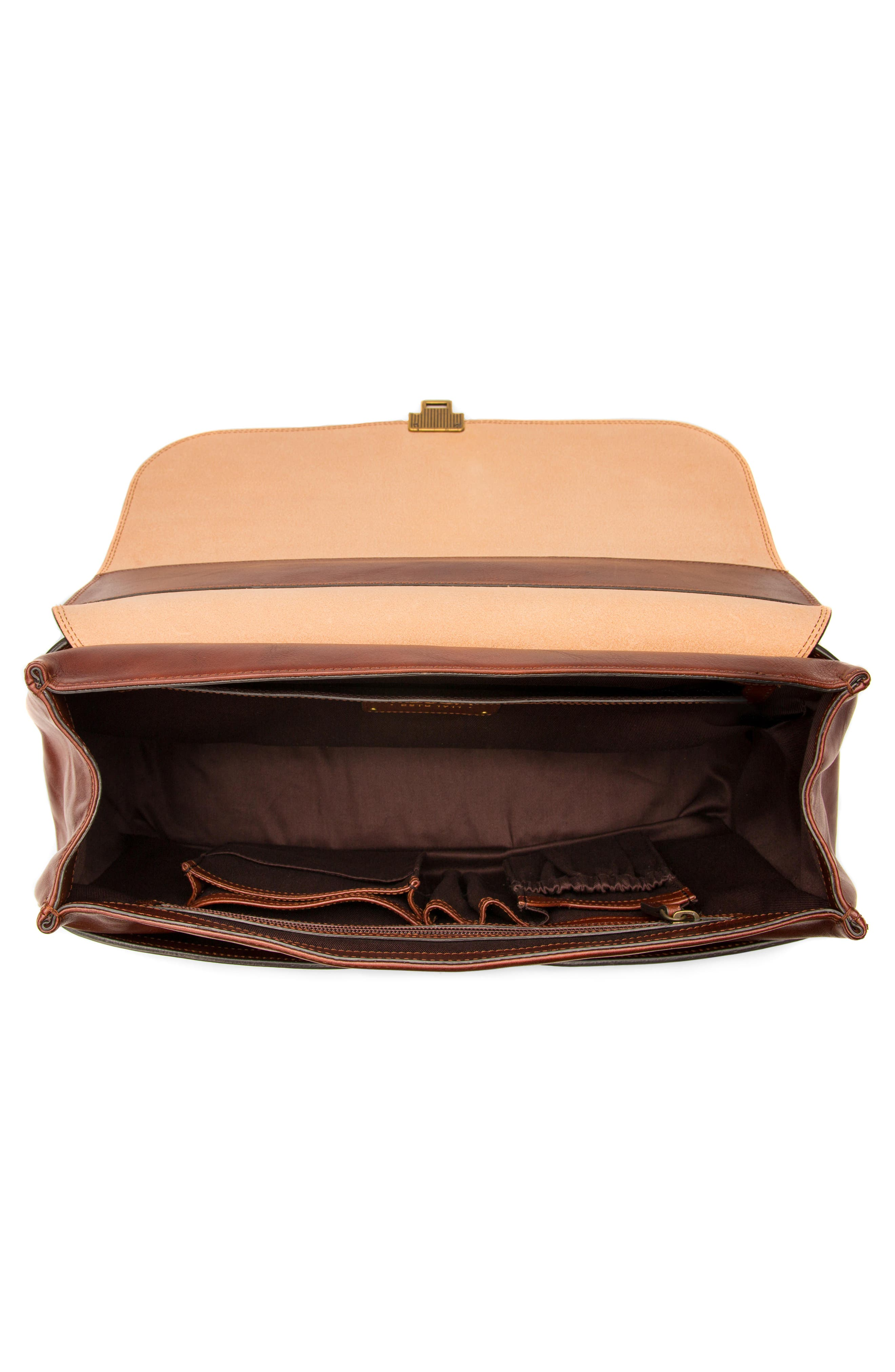 Leather Briefcase,                             Alternate thumbnail 3, color,                             Dark Brown