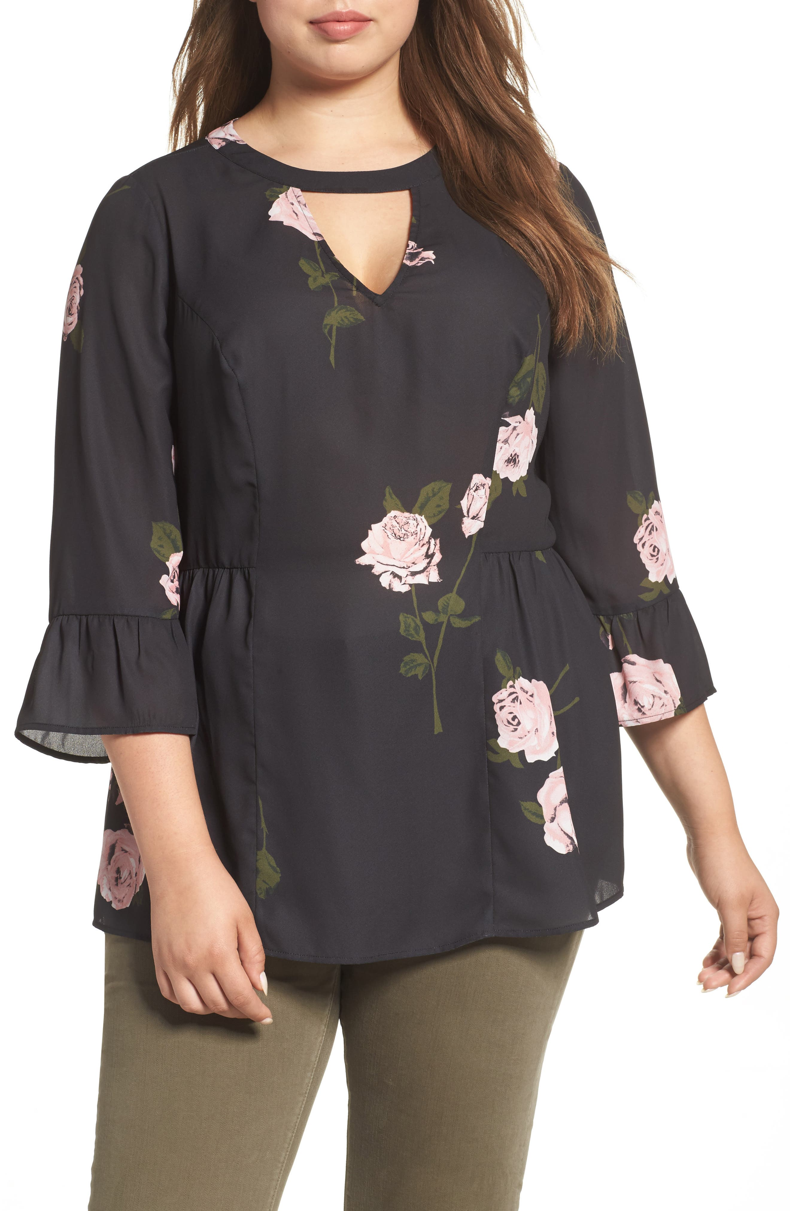 Daniel Rainn Bell Sleeve Floral Blouse (Plus Size)