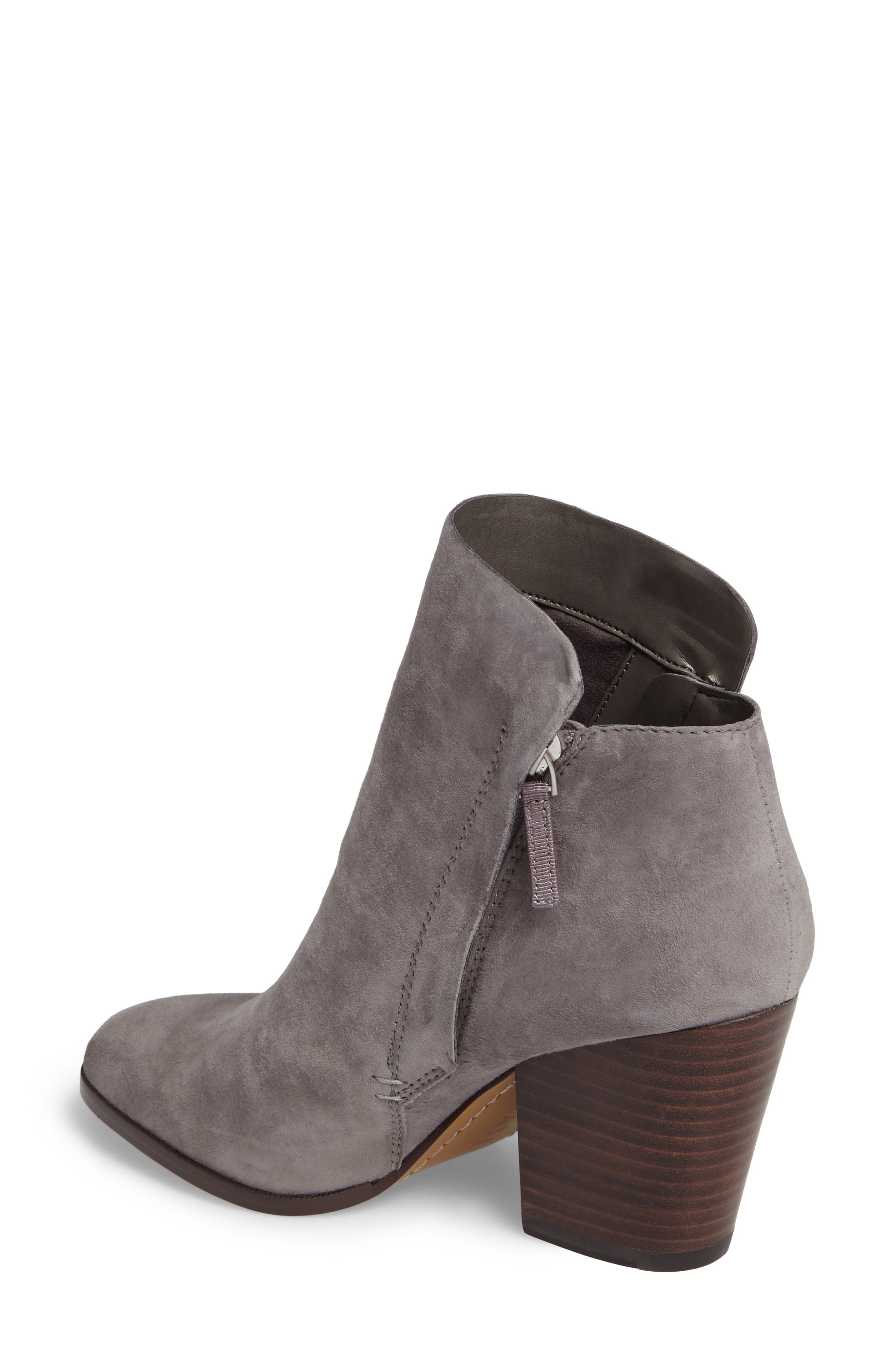 Taila Angle Zip Bootie,                             Alternate thumbnail 2, color,                             Iron Suede