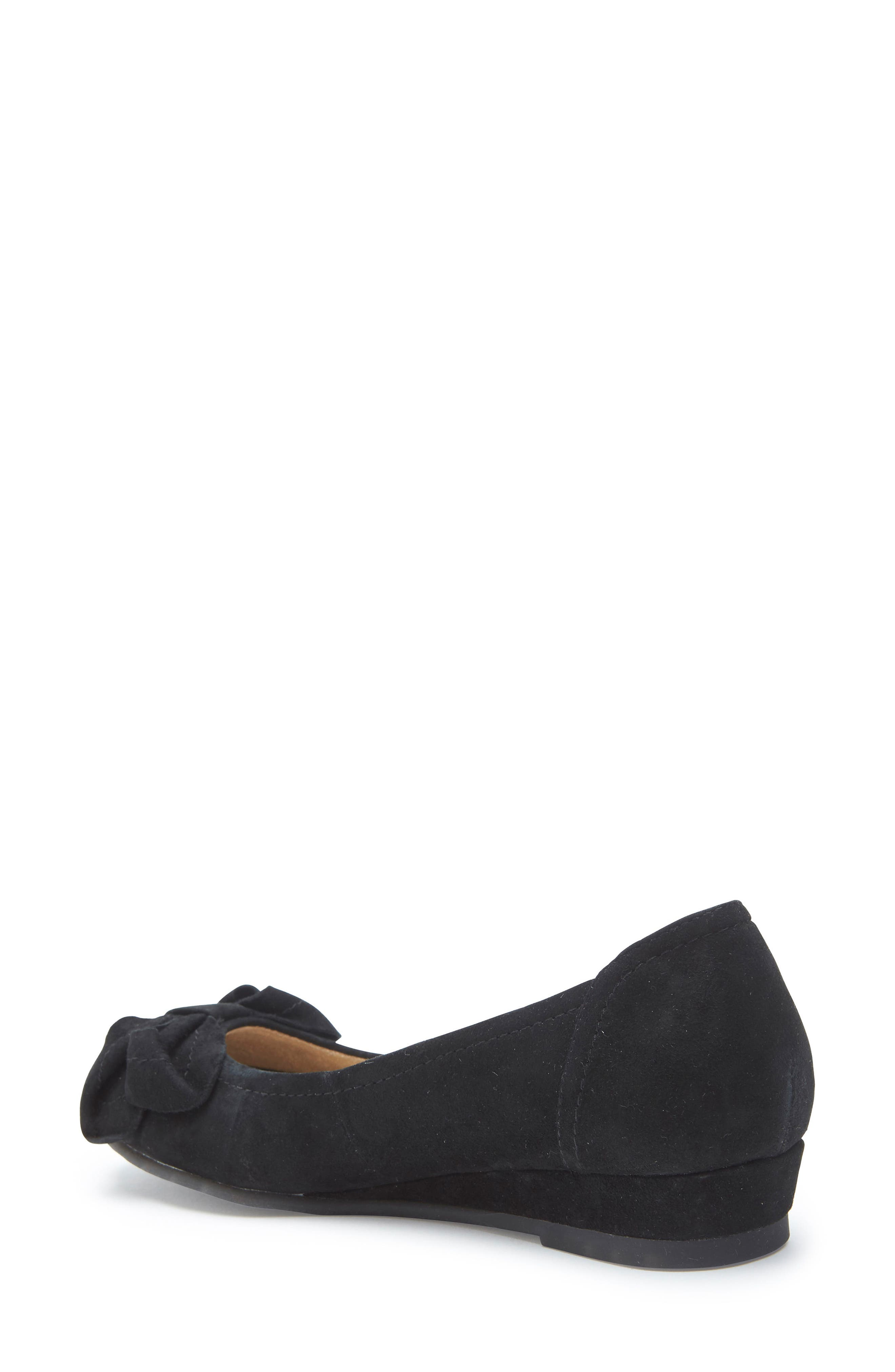 Martina Bow Ballet Wedge,                             Alternate thumbnail 2, color,                             Black Suede