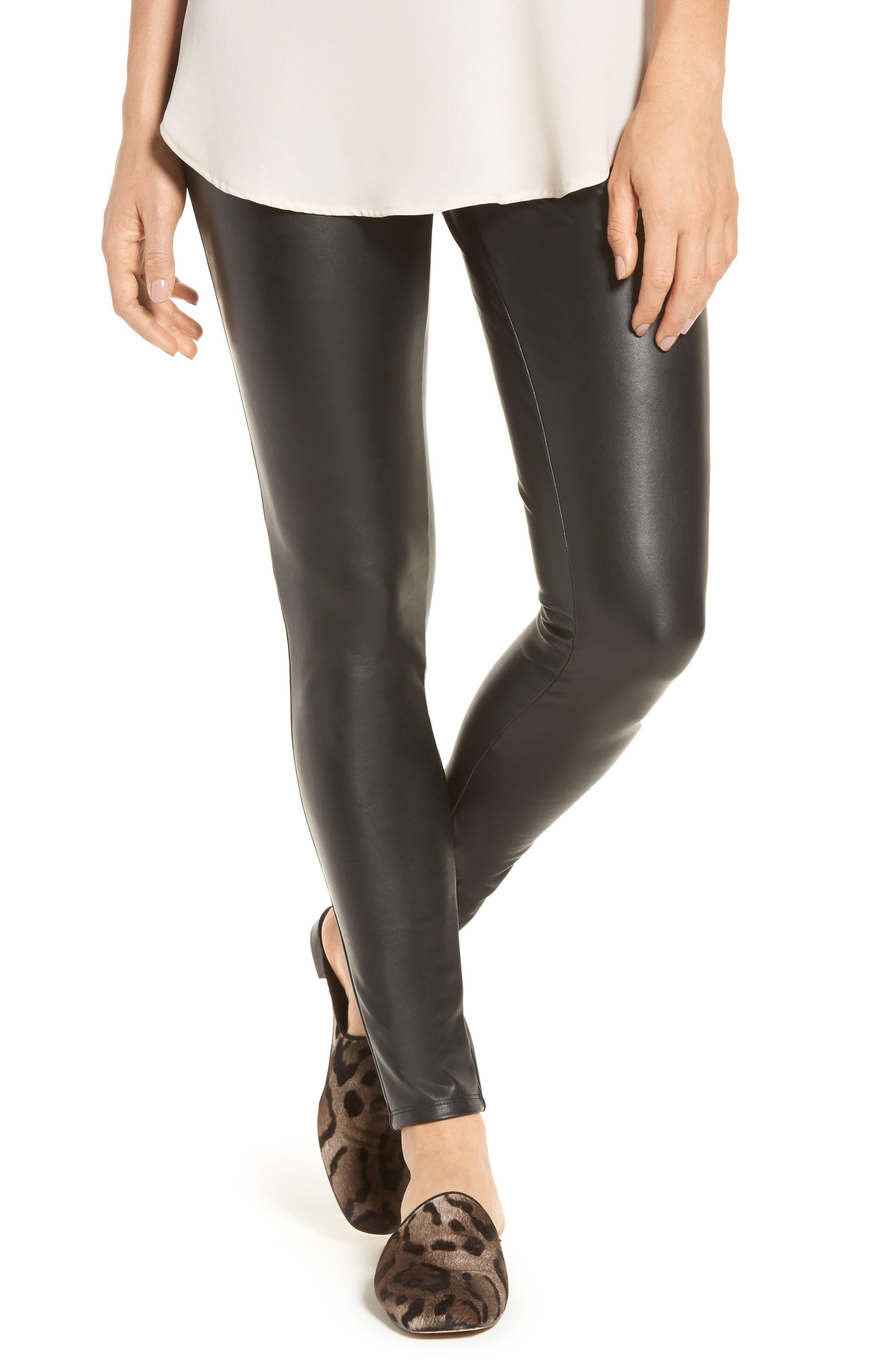 Faux Leather Leggings,                         Main,                         color, Black