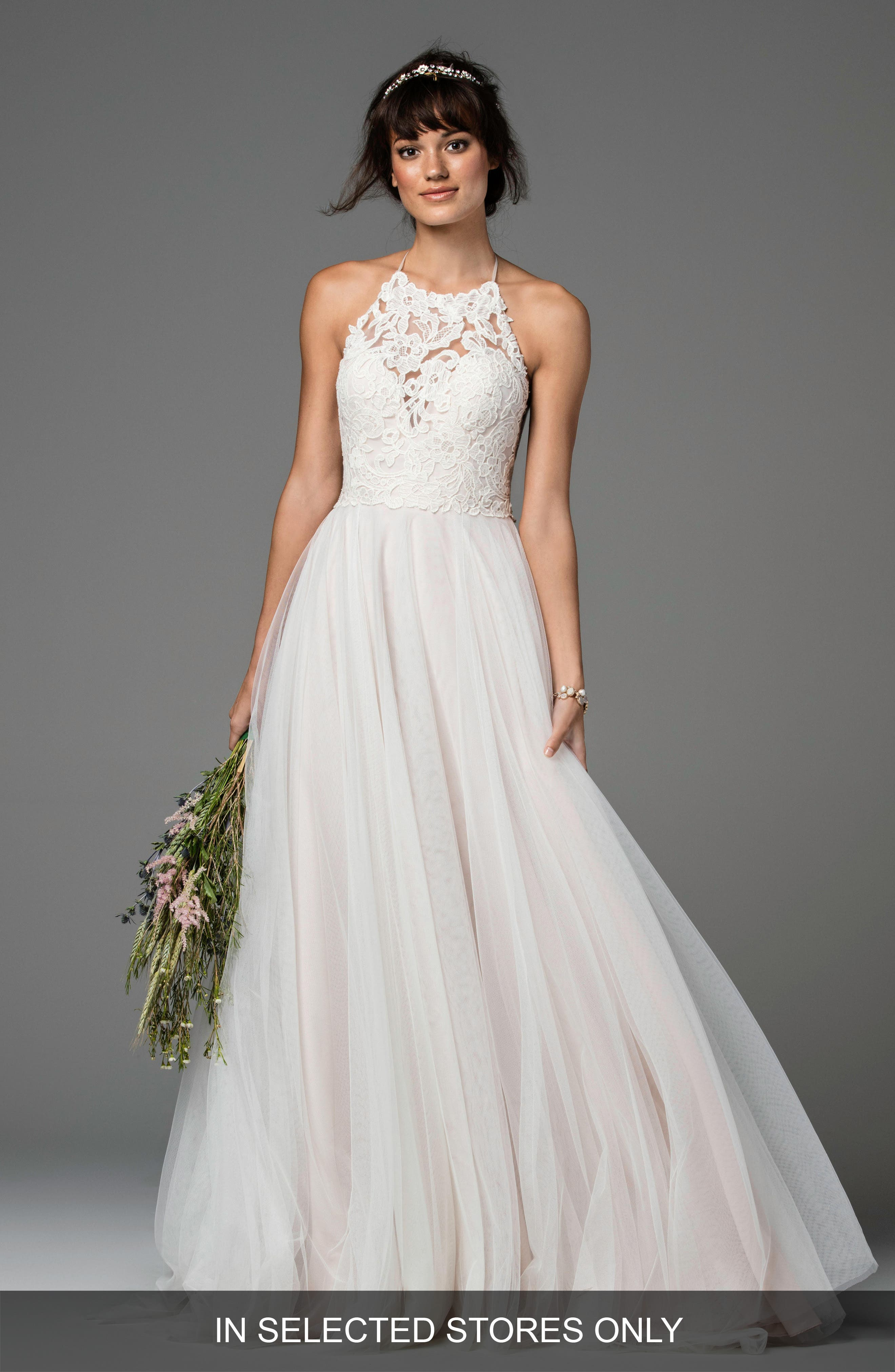Main Image - Willowby Esperance Lace & Net Halter Gown