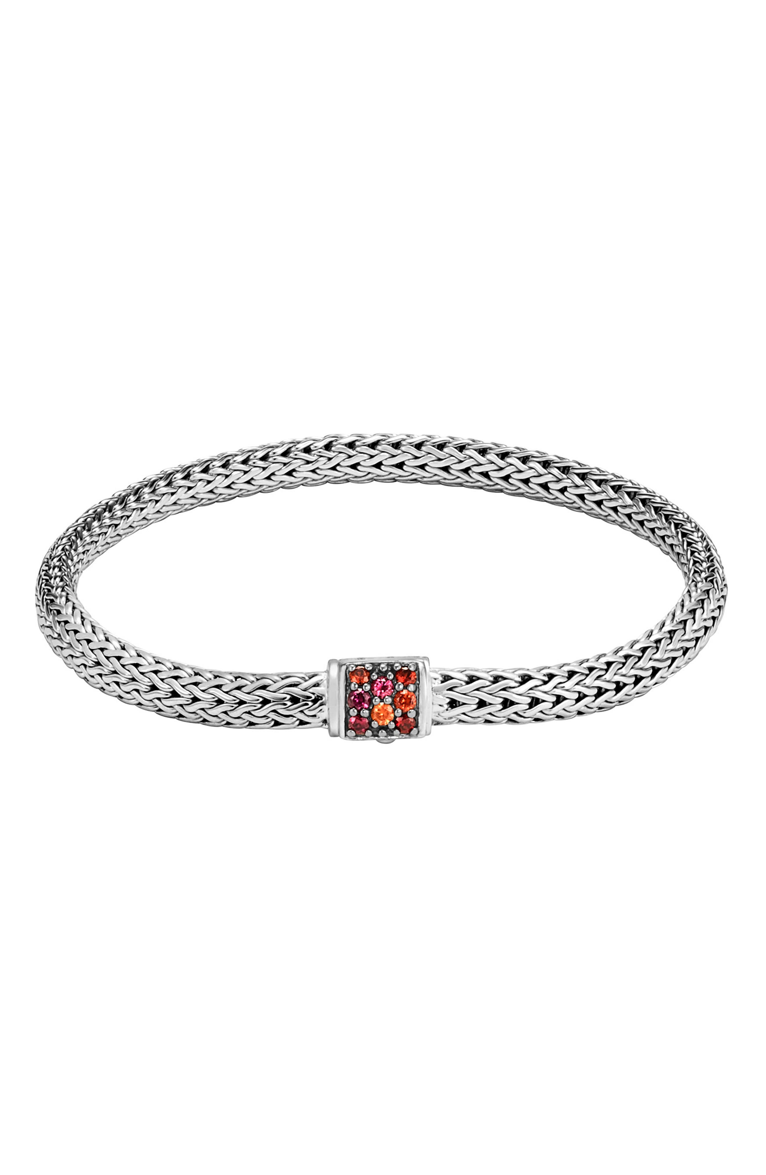 Classic Chain Extra Small Bracelet,                         Main,                         color, Silver/ Garnet