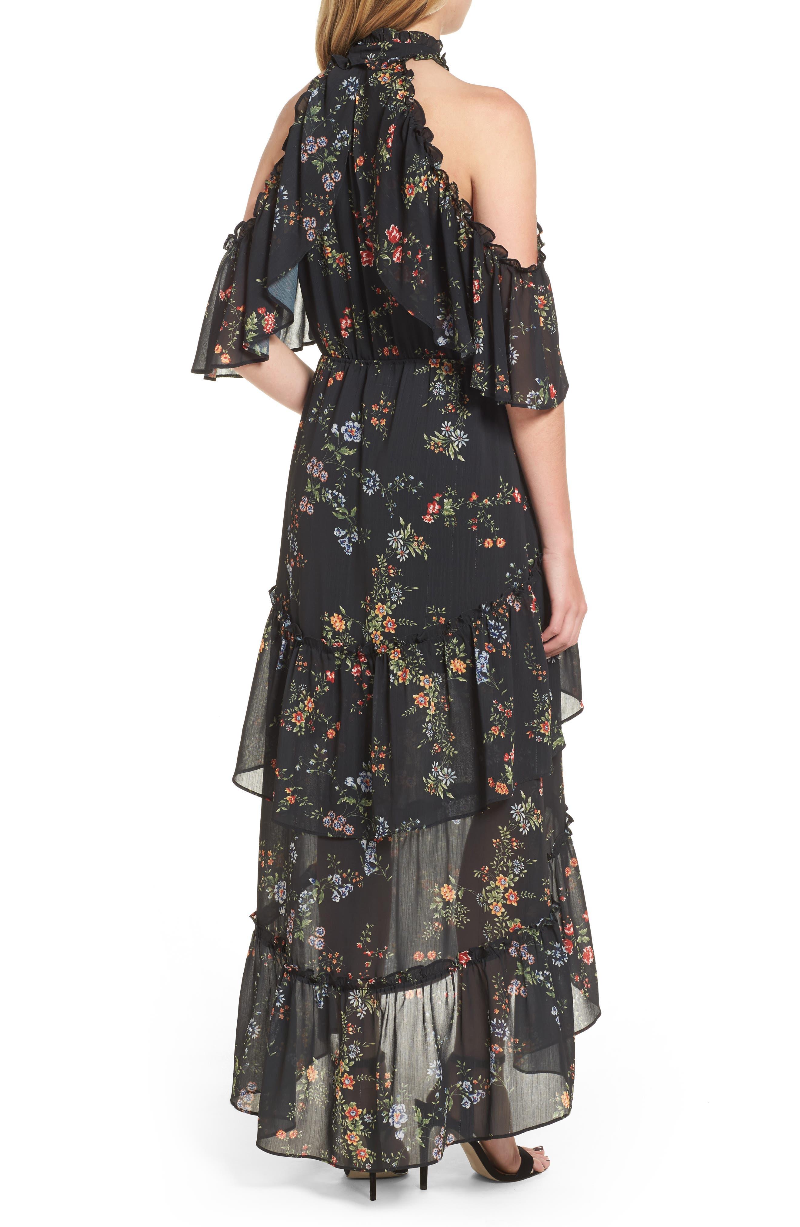 London Cold Shoulder Maxi Dress,                             Alternate thumbnail 2, color,                             Black Floral