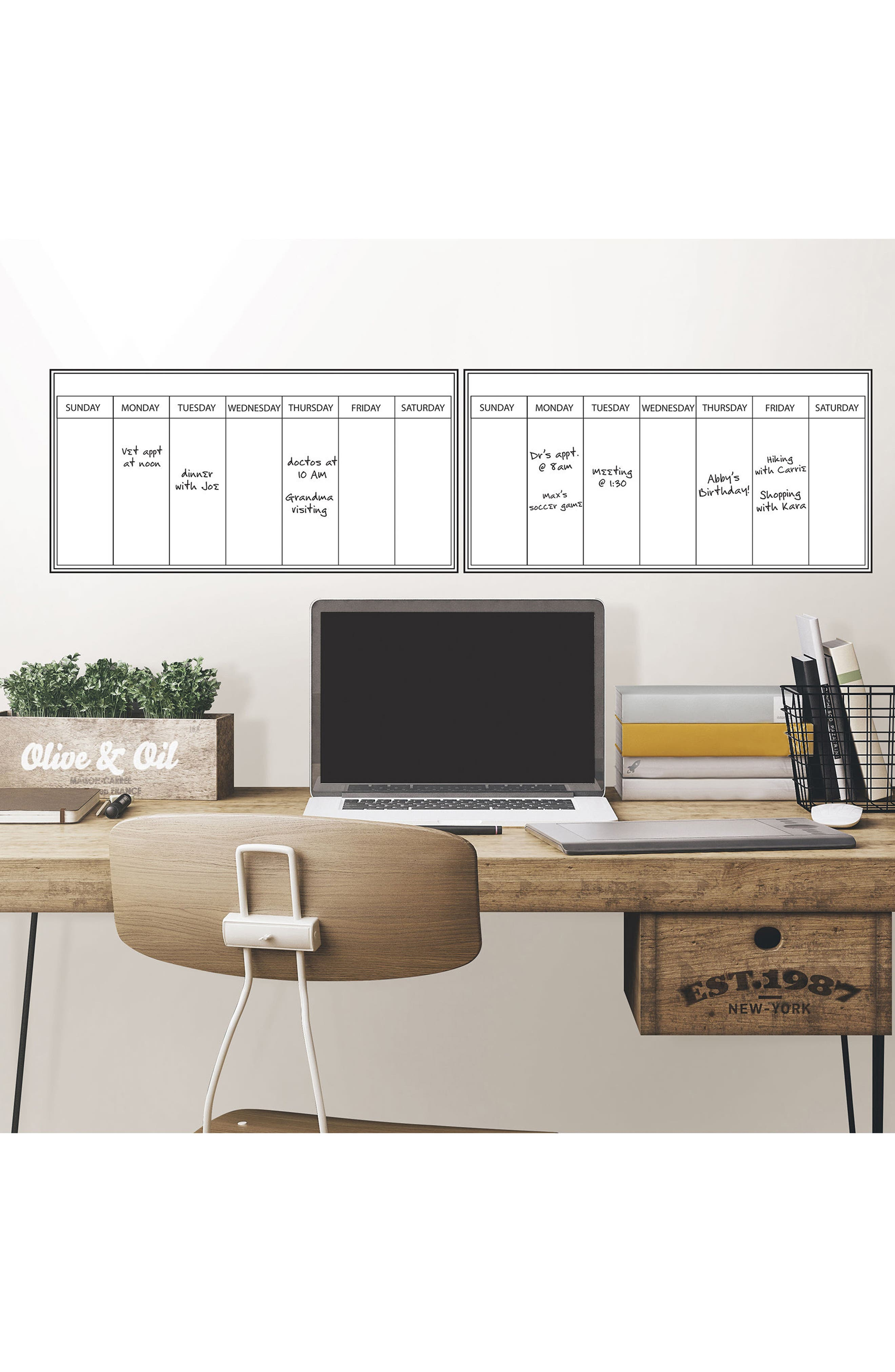 Weekly Dry Erase Calendar Decal,                             Alternate thumbnail 2, color,                             White Off-White