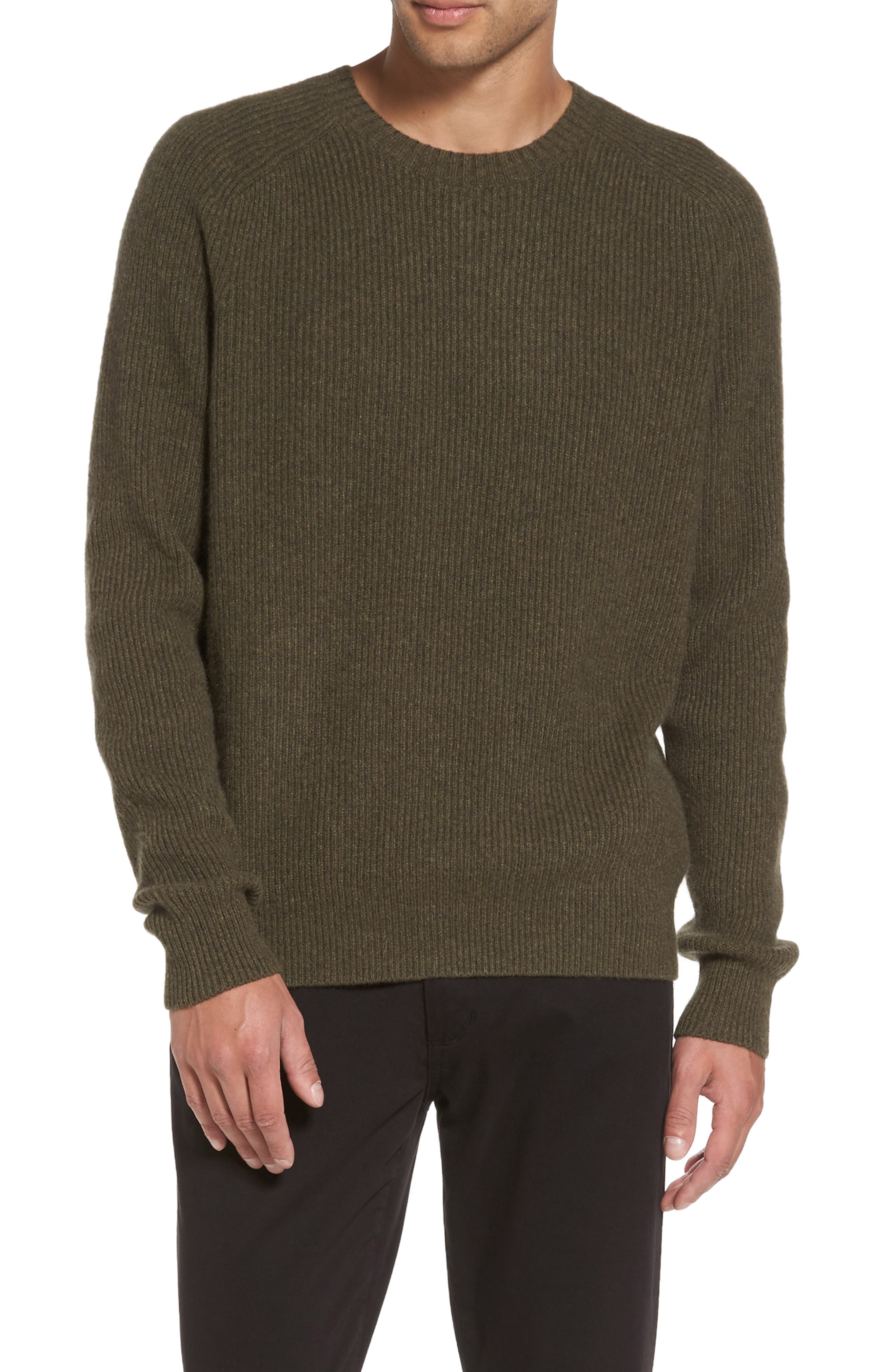 Ribbed Wool & Cashmere Raglan Sweater,                         Main,                         color, Spruce