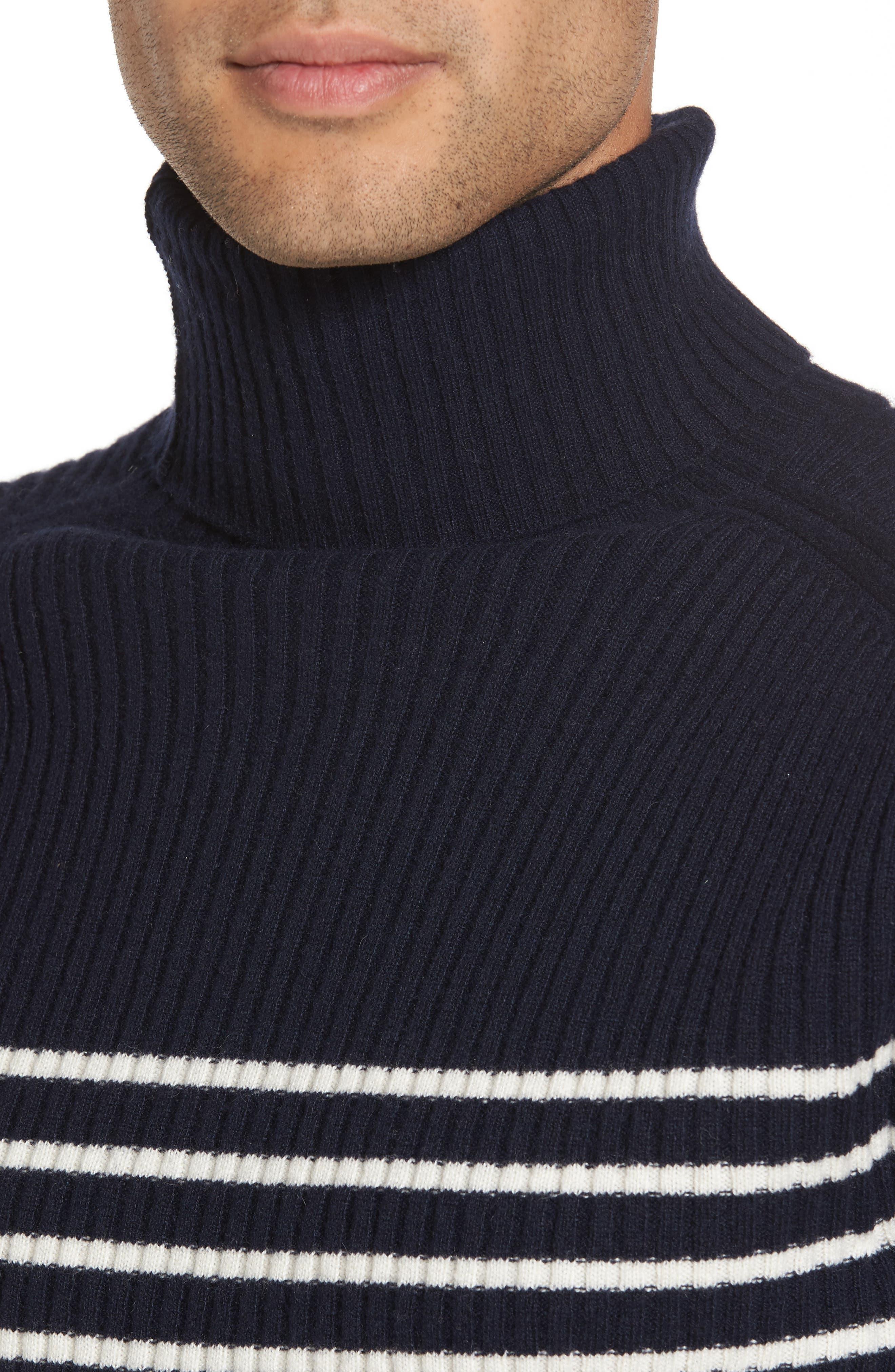Regular Fit Breton Stripe Cashmere Turtleneck Sweater,                             Alternate thumbnail 4, color,                             Coastal/ Breeze