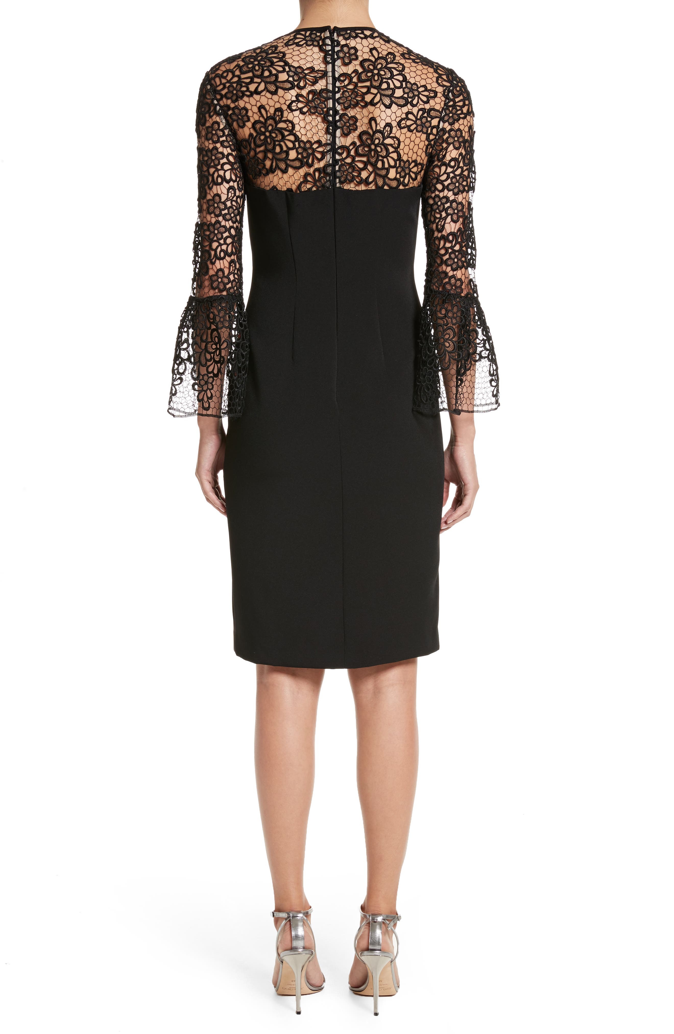 Alternate Image 2  - Carmen Marc Valvo Couture Embroidered Lace Bell Sleeve Sheath Dress