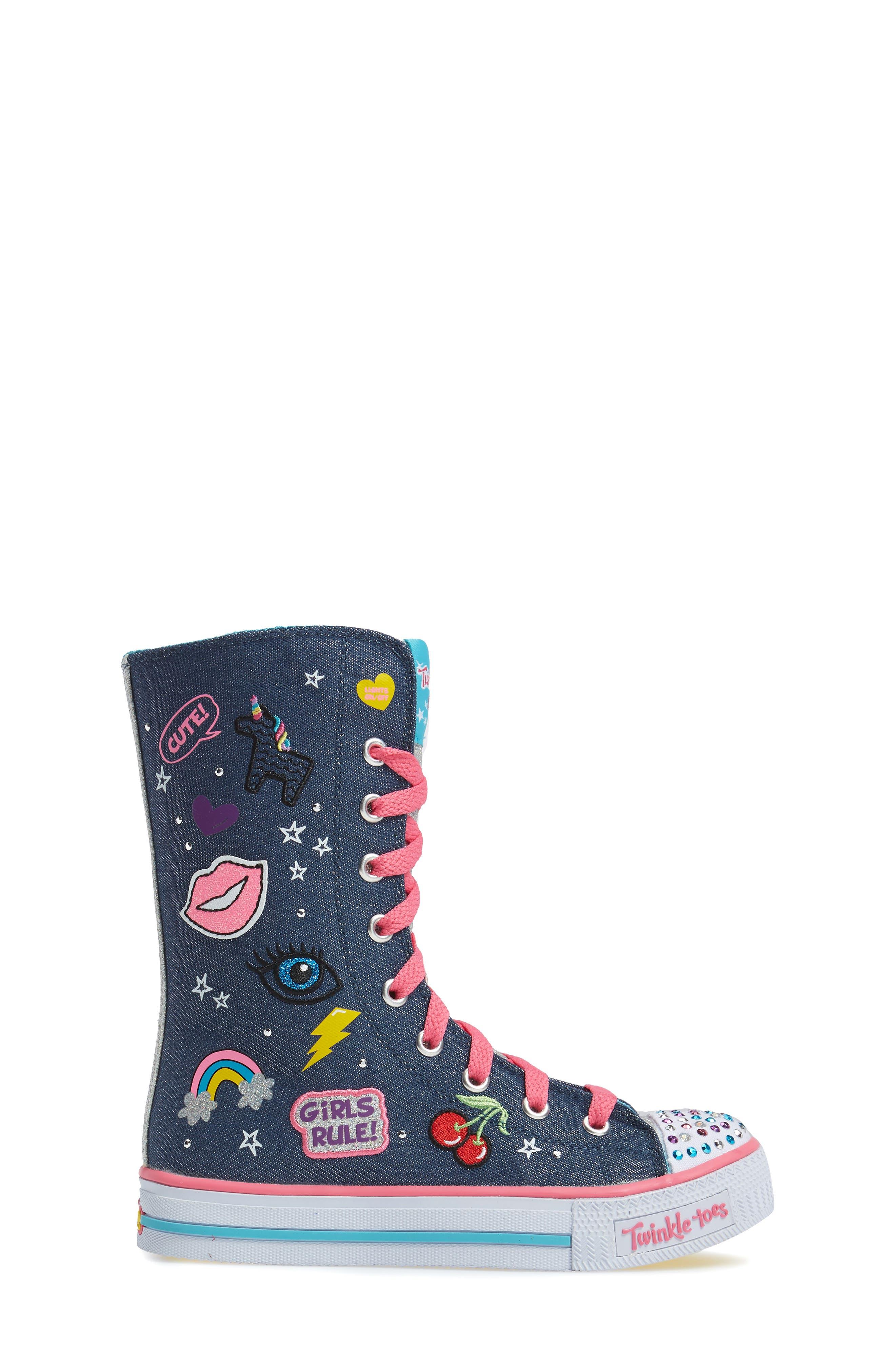 Twinkle Toes Shuffles Ultra High Top Sneaker,                             Alternate thumbnail 3, color,                             Denim/ Multi