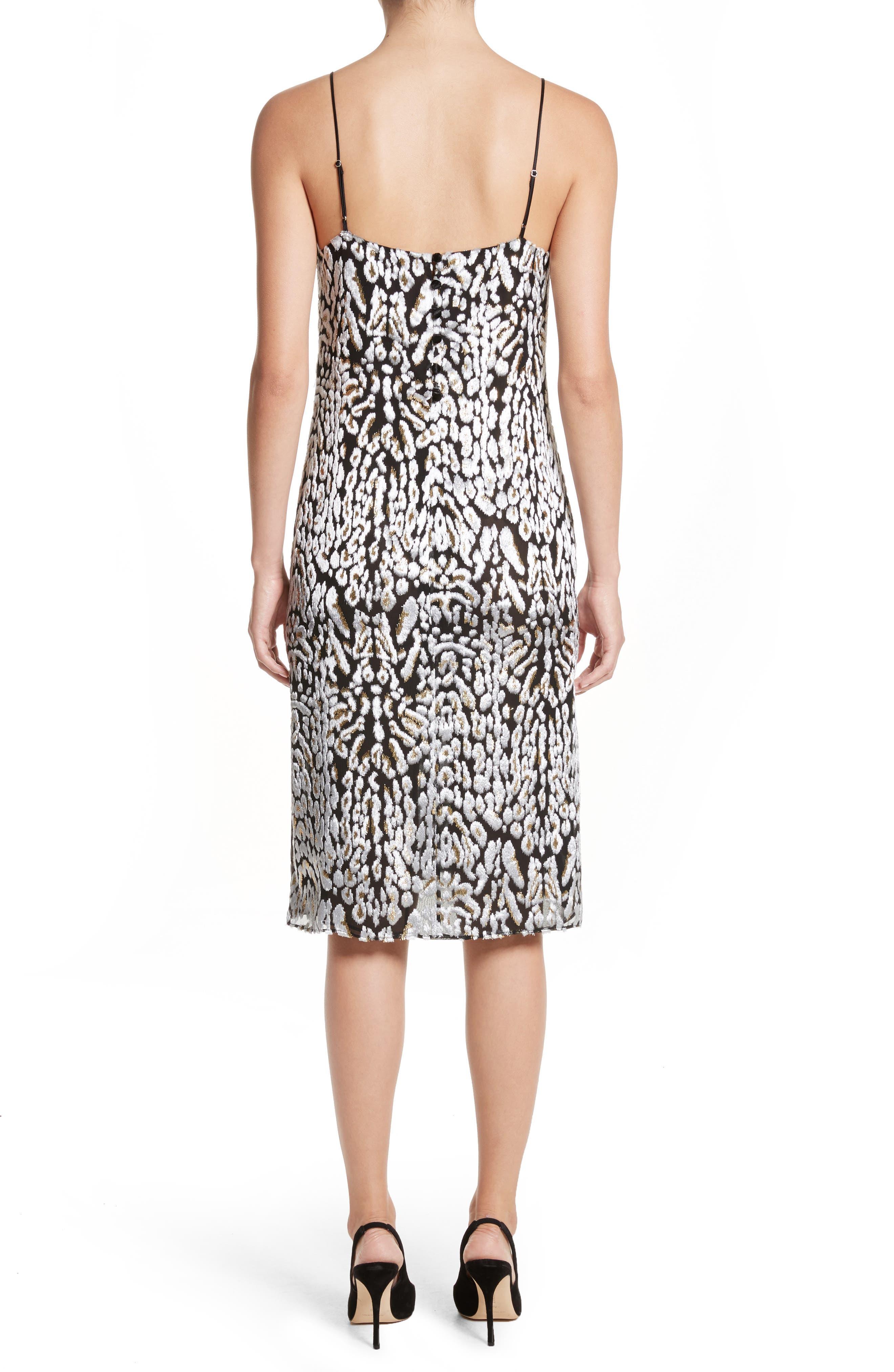 Ocelot Velvet Jacquard Dress,                             Alternate thumbnail 2, color,                             Black/ Ivory/ Gold