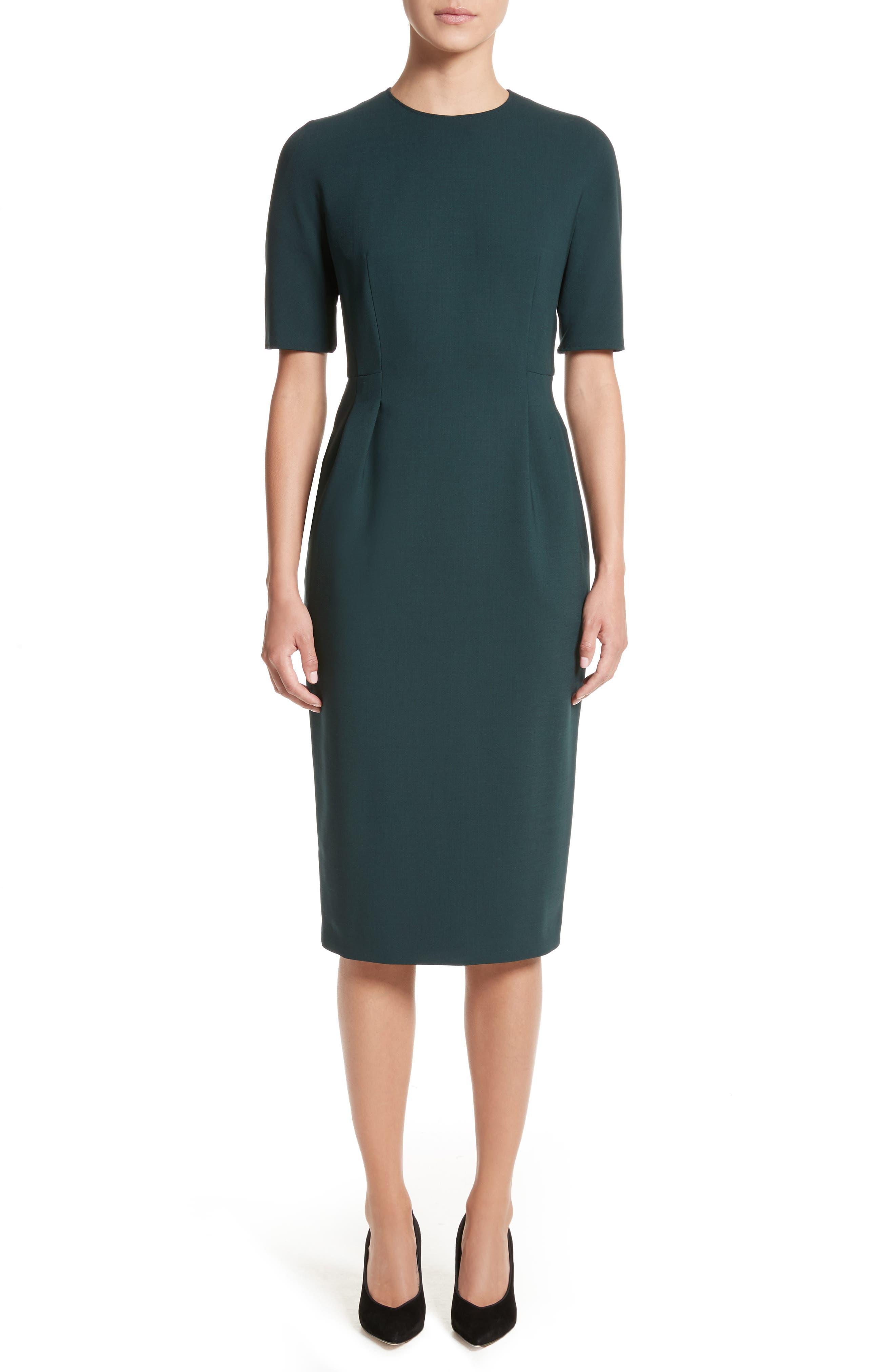 Umano Stretch Wool Sheath Dress,                             Main thumbnail 1, color,                             Dark Green