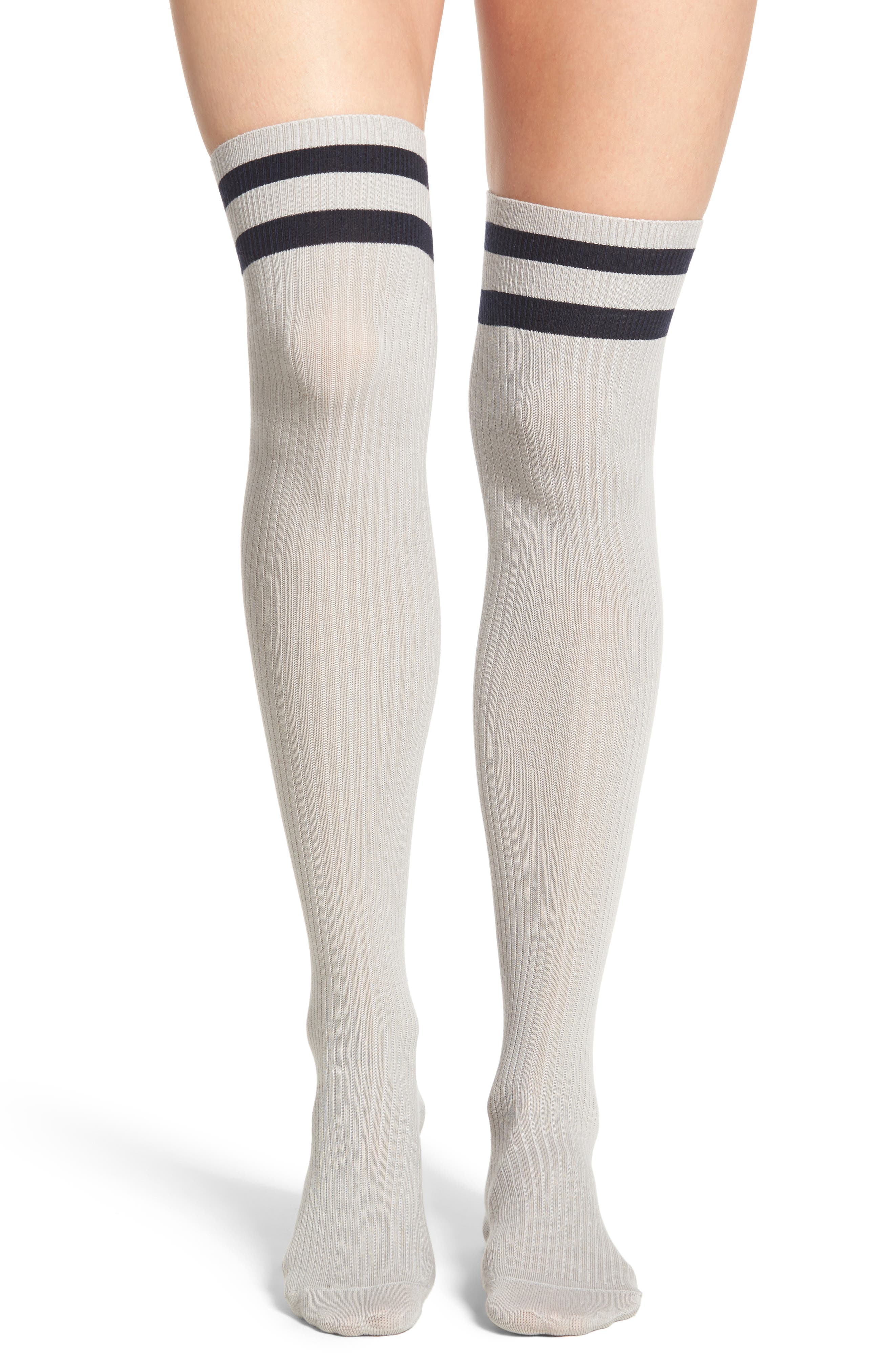 Main Image - Treasure & Bond Varsity Stripe Over the Knee Socks