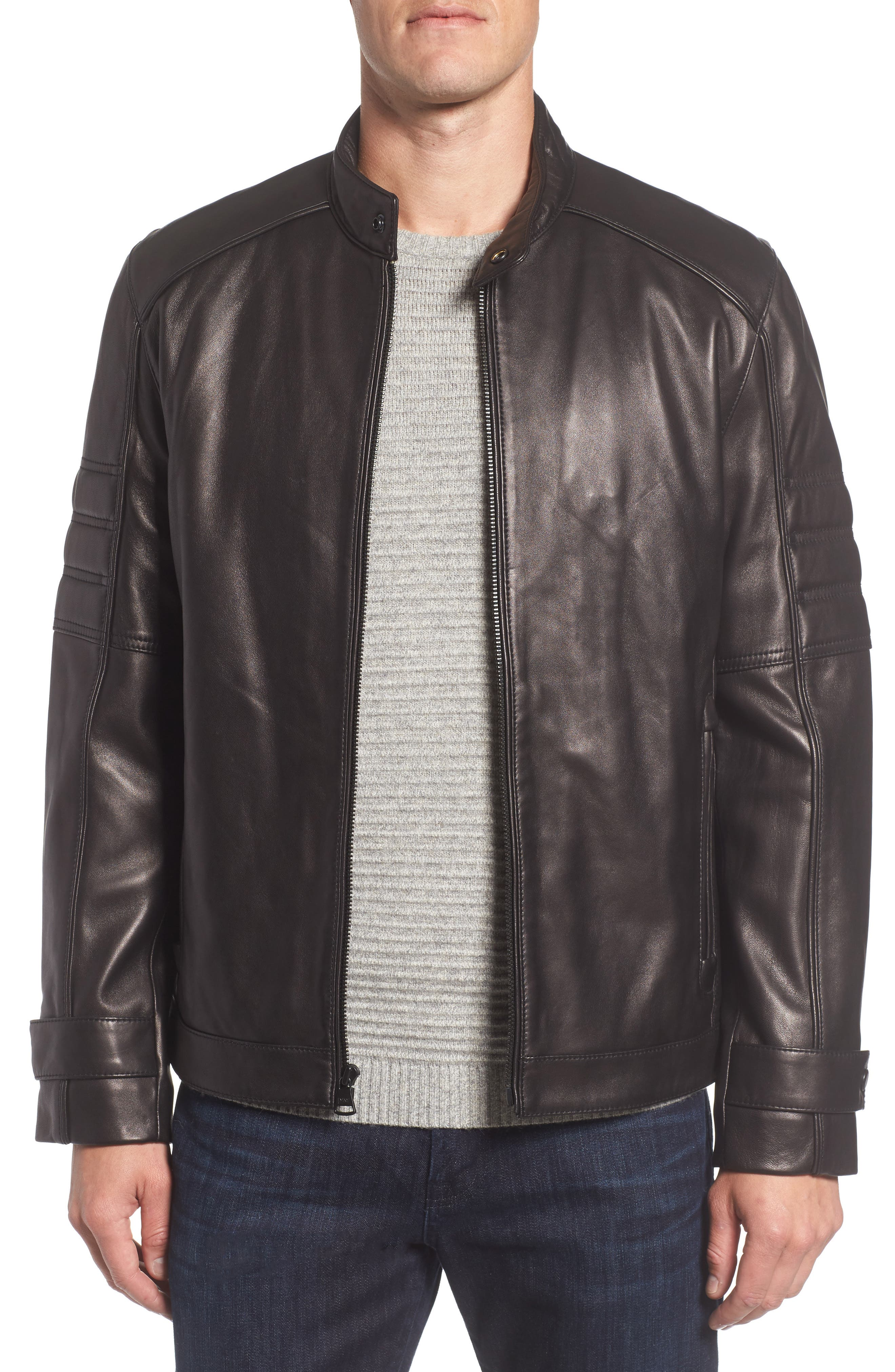 Tuers Lambskin Leather Moto Jacket,                             Main thumbnail 1, color,                             Black