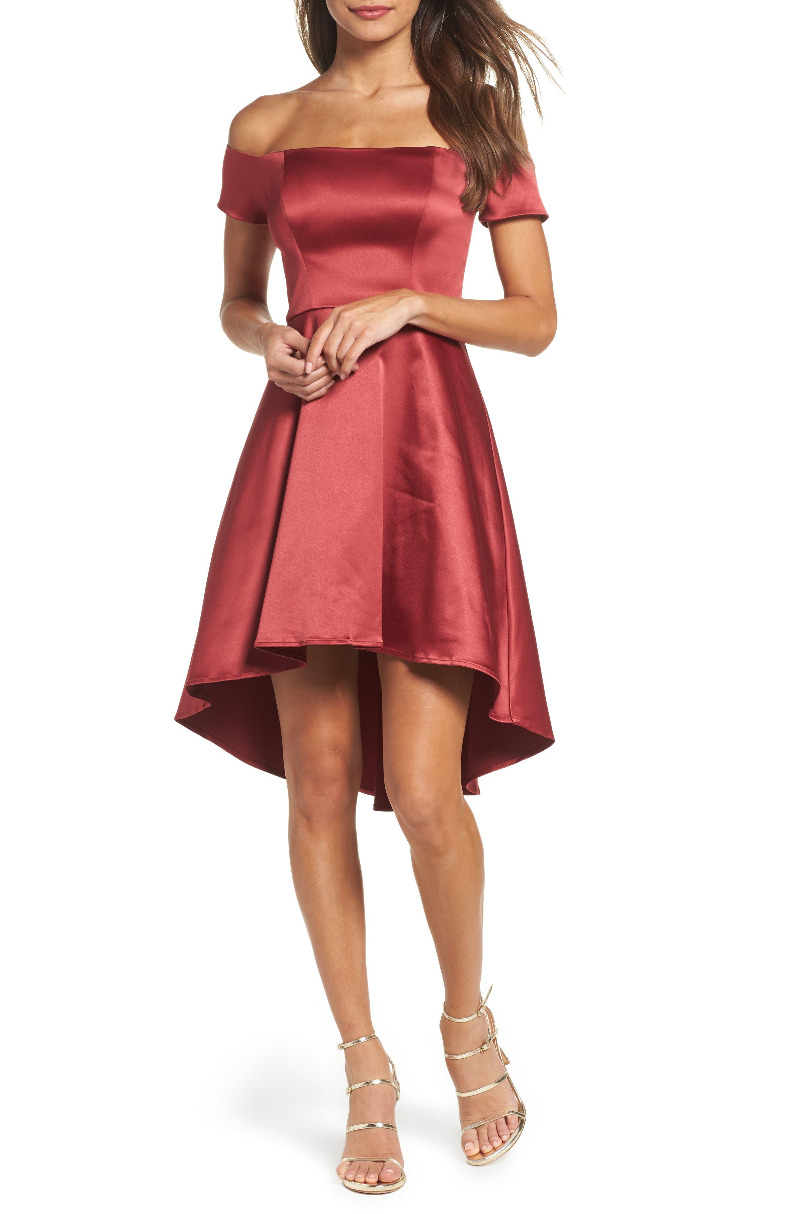 Off the Shoulder Satin Dress,                         Main,                         color, Merlot