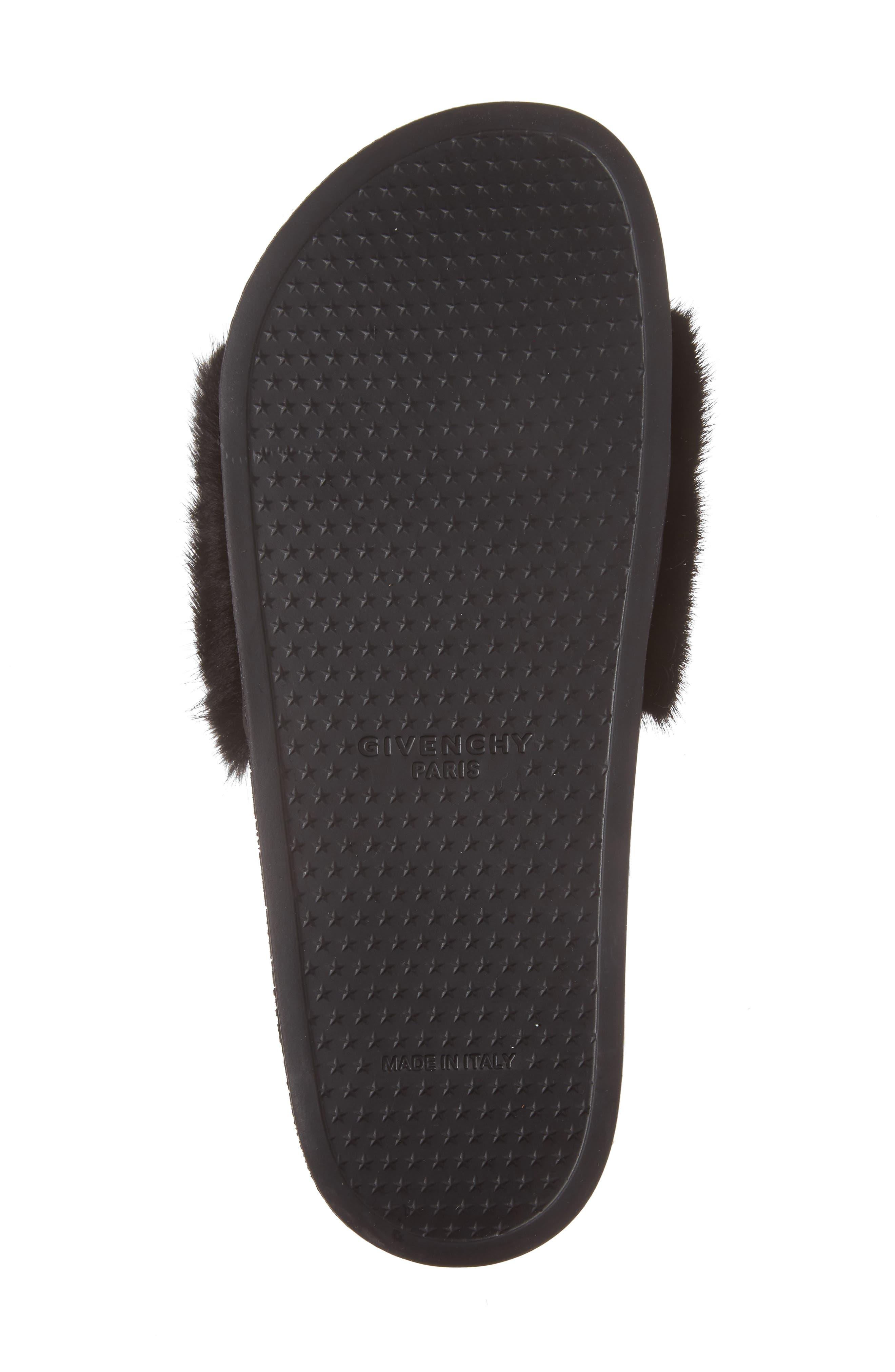 Genuine Mink Fur Slide Sandal,                             Alternate thumbnail 6, color,                             Black